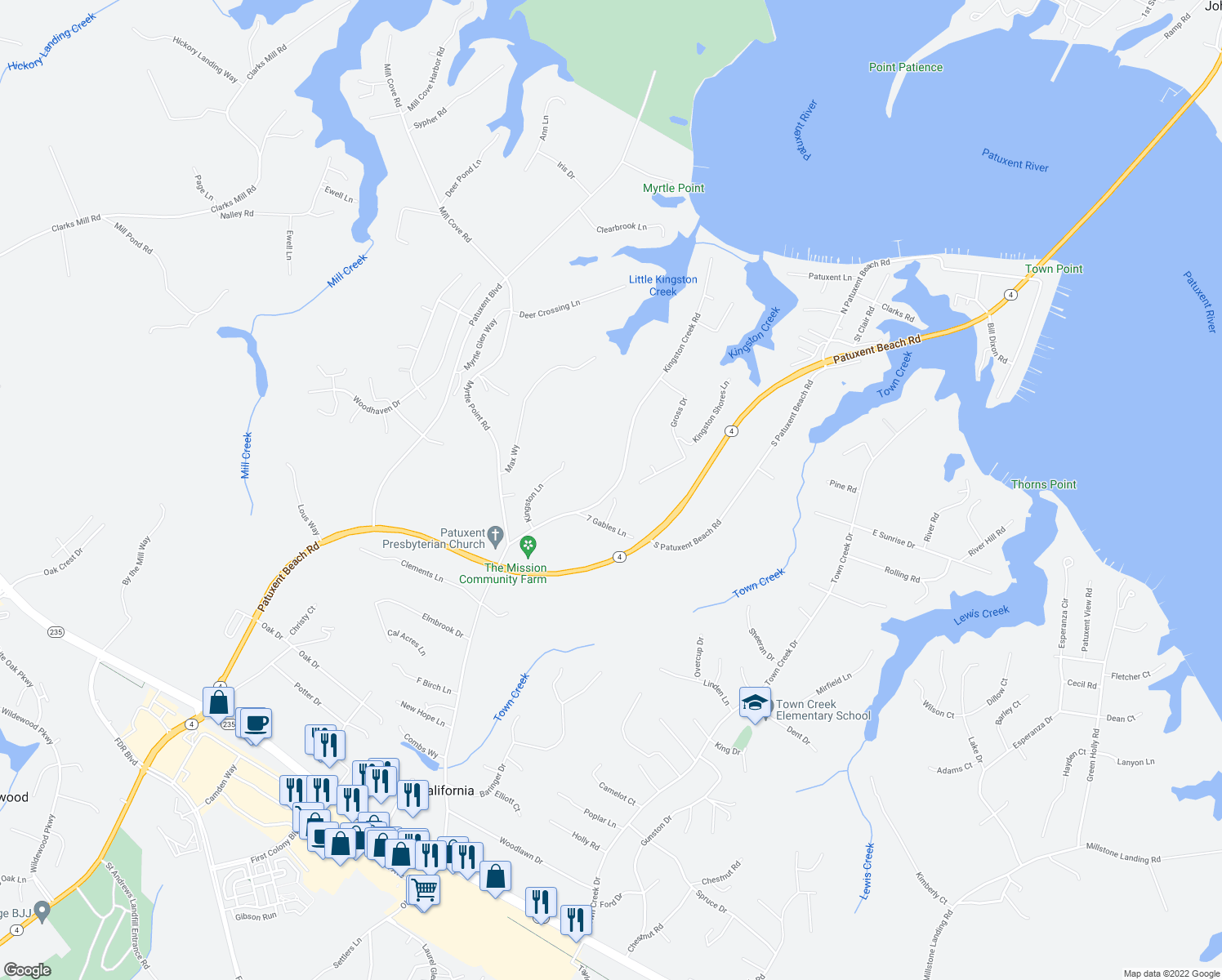 map of restaurants, bars, coffee shops, grocery stores, and more near Kingston Creek Road in California