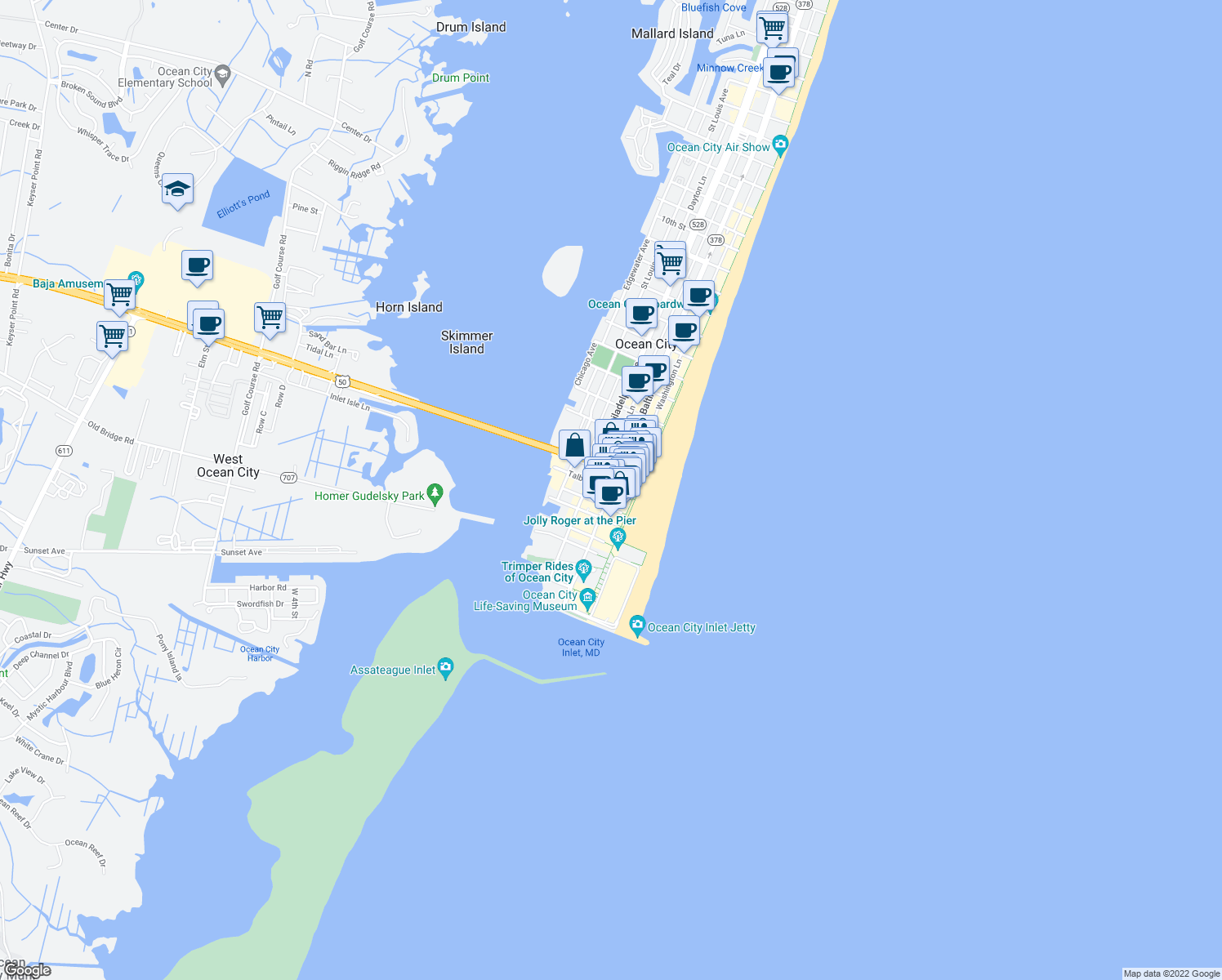 map of restaurants, bars, coffee shops, grocery stores, and more near 103 Caroline Street in Ocean City