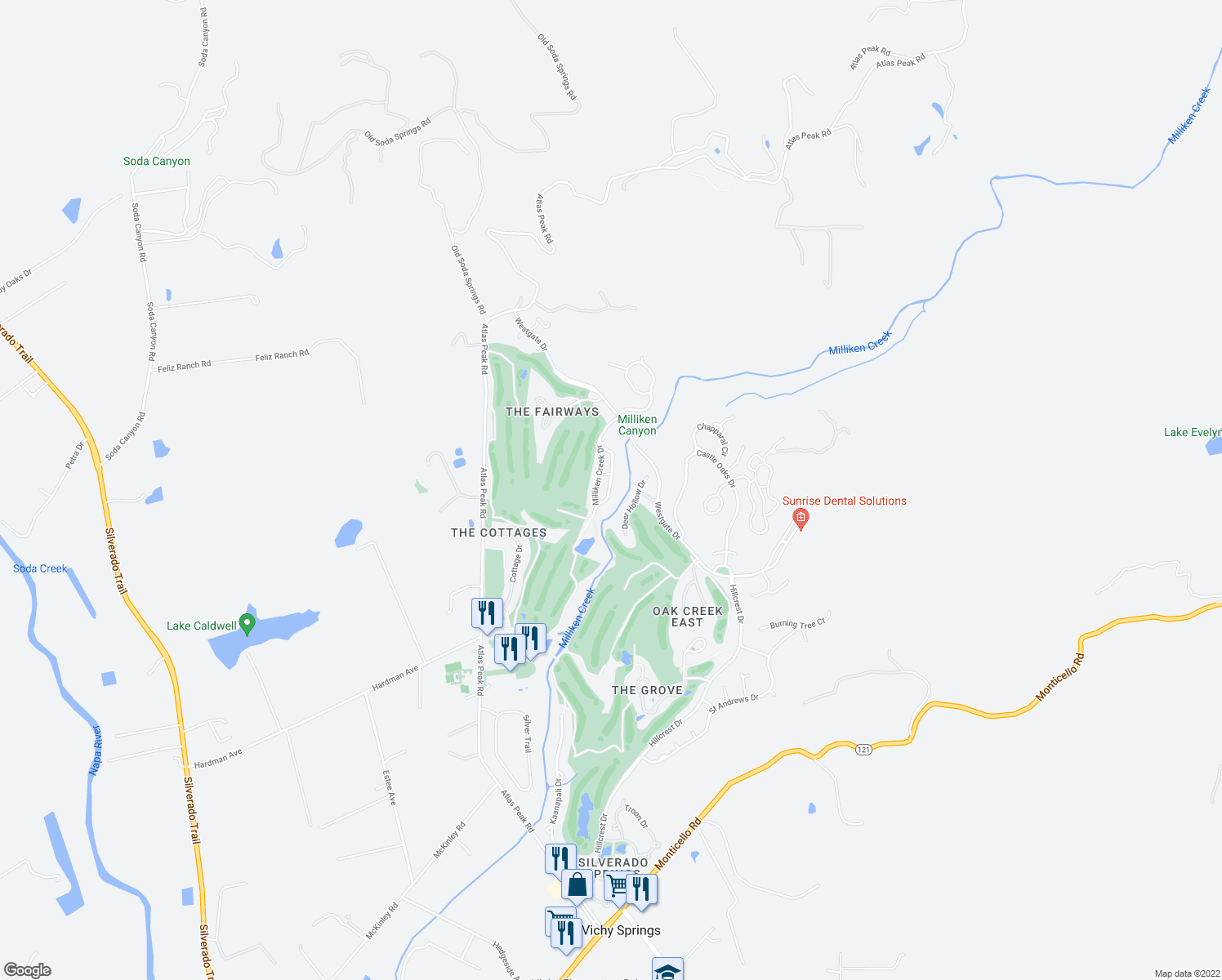 map of restaurants, bars, coffee shops, grocery stores, and more near 144 Bonnie Brook Drive in Napa