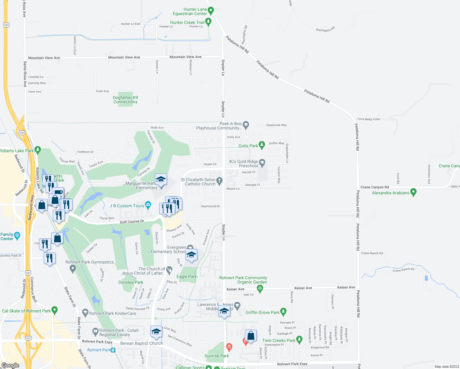 map of restaurants, bars, coffee shops, grocery stores, and more near 1440 Gold Way in Rohnert Park