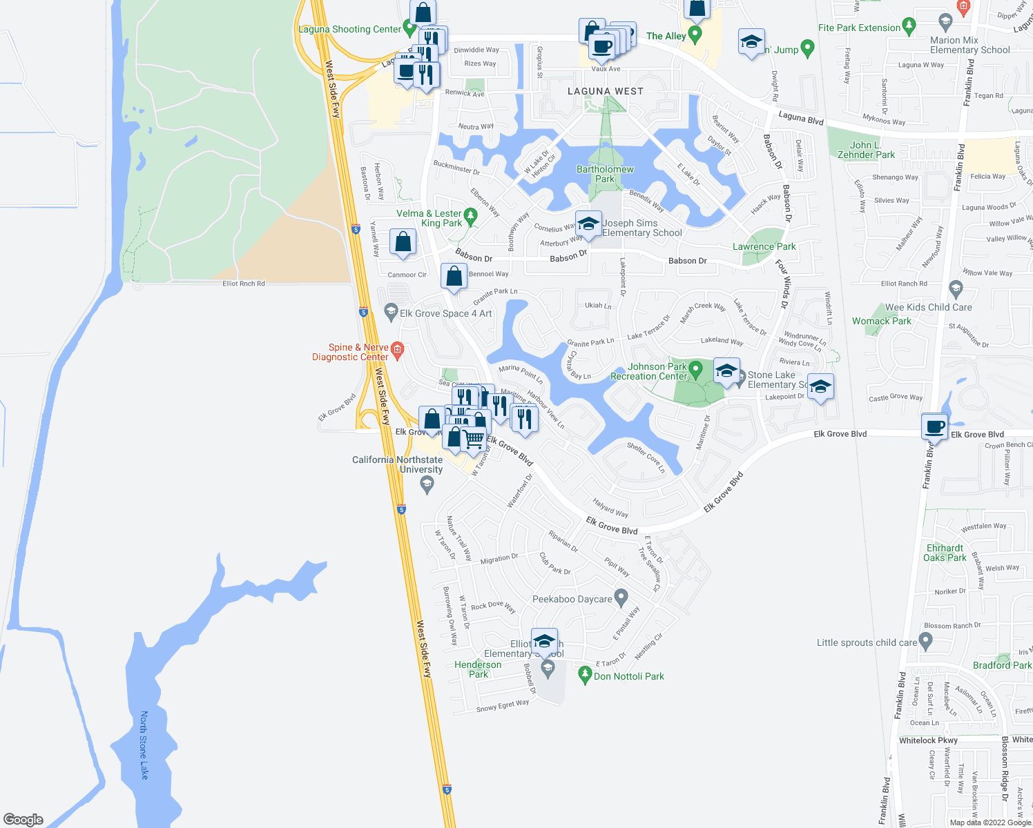 map of restaurants, bars, coffee shops, grocery stores, and more near 9646 Coney Island Cir in Elk Grove