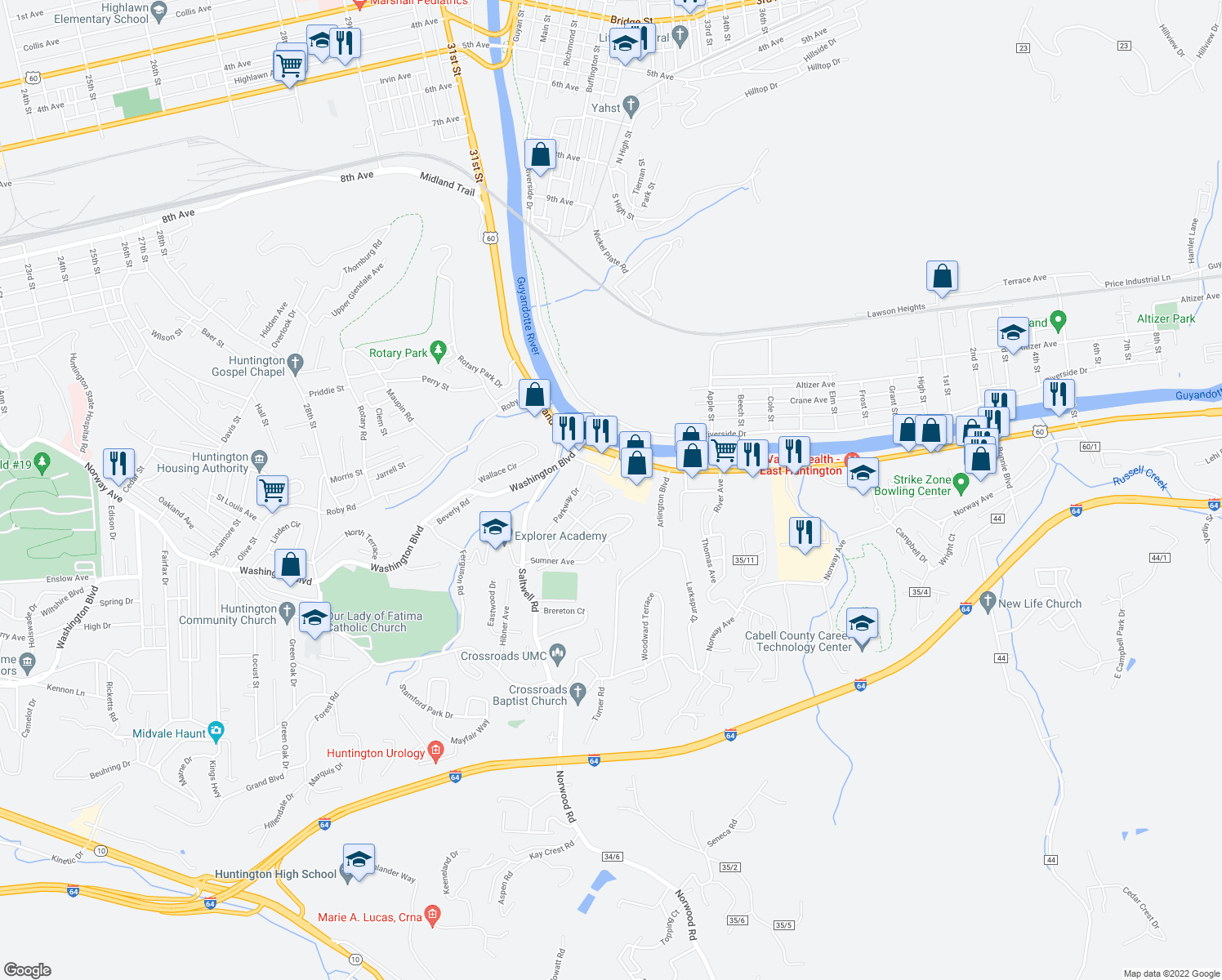 map of restaurants, bars, coffee shops, grocery stores, and more near 11 Elwood Drive in Huntington