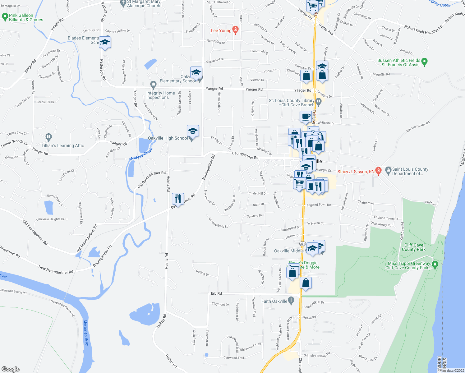 map of restaurants, bars, coffee shops, grocery stores, and more near 5655 Chalet Hill Drive in St. Louis