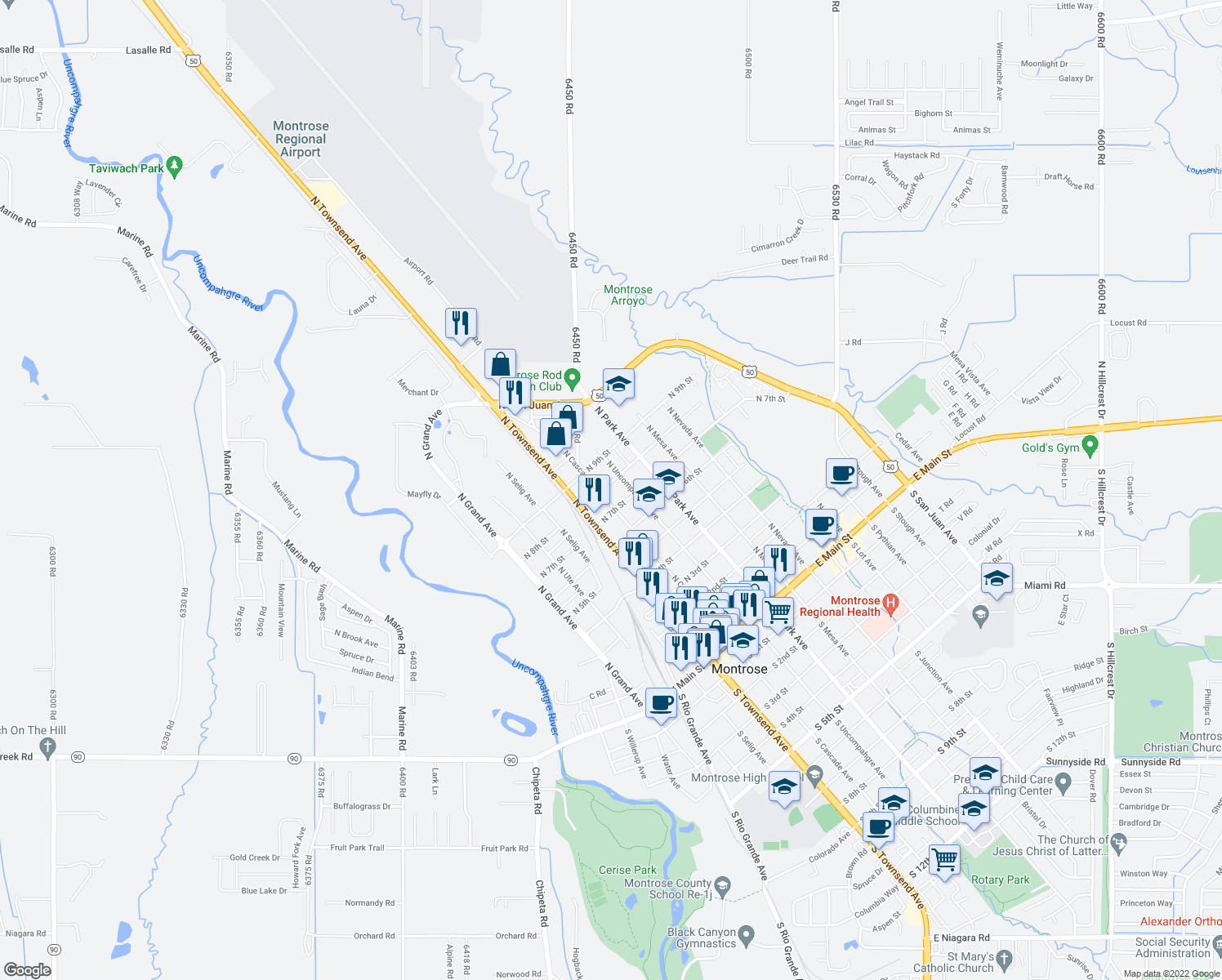 map of restaurants, bars, coffee shops, grocery stores, and more near 740 North Cascade Avenue in Montrose