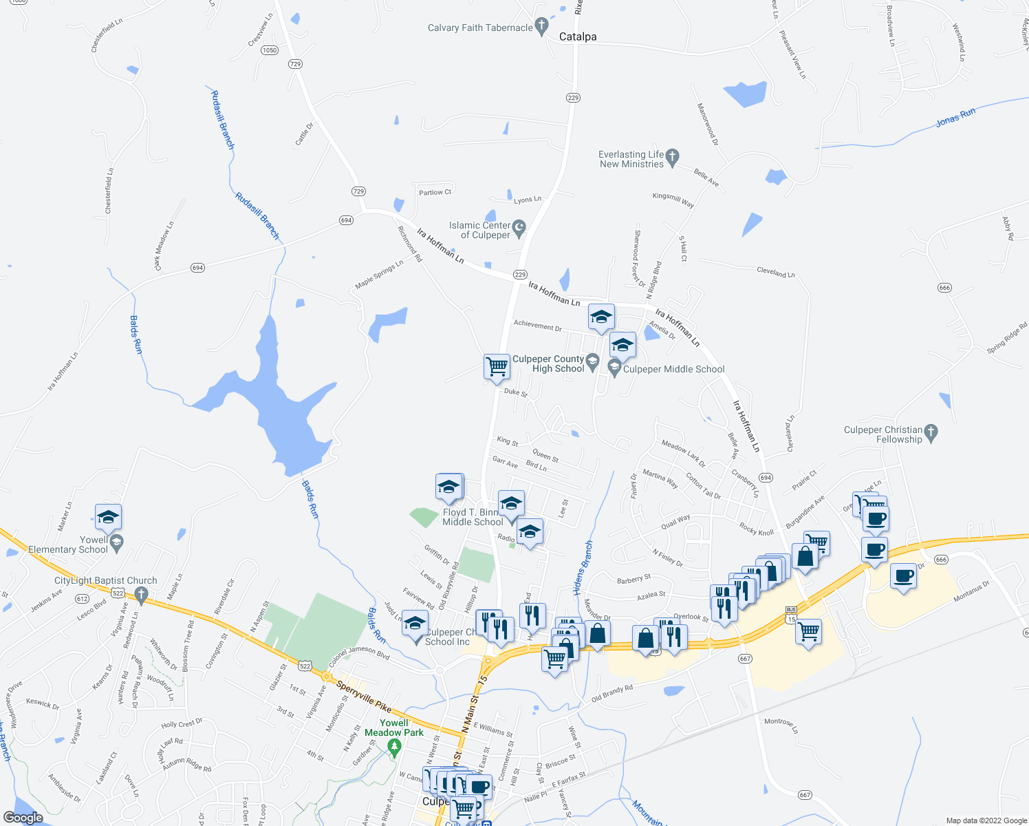 map of restaurants, bars, coffee shops, grocery stores, and more near 1501 Addie Lane in Culpeper