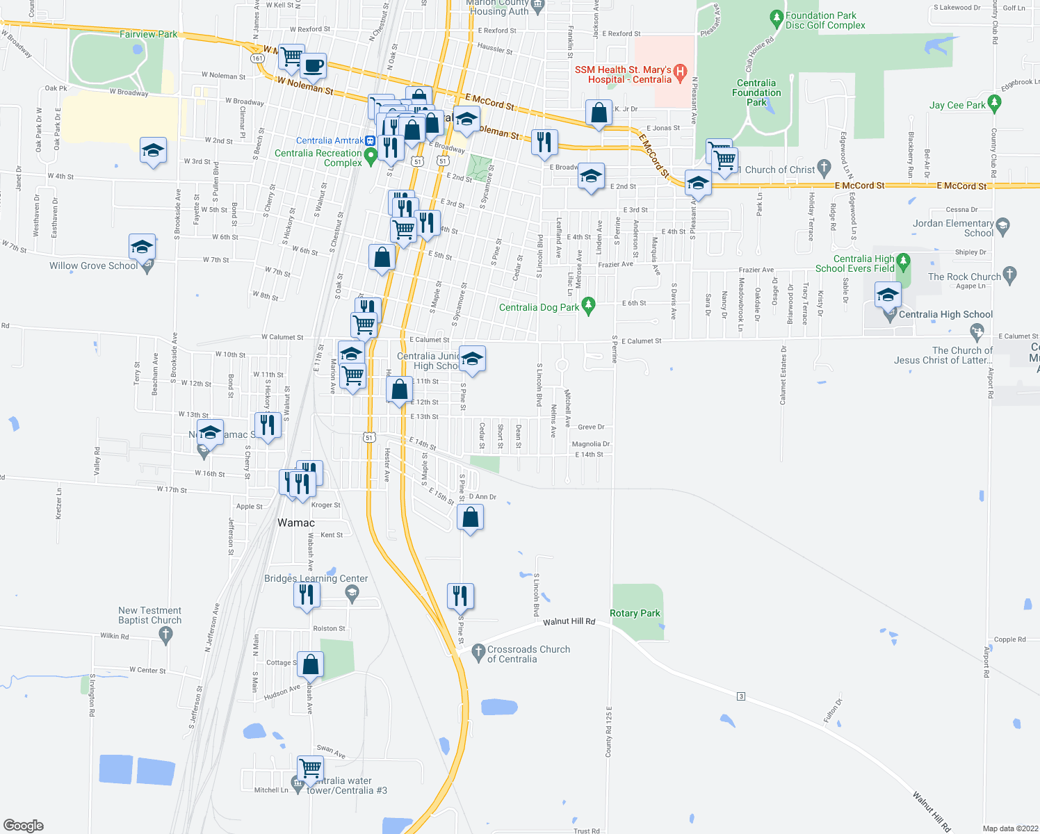map of restaurants, bars, coffee shops, grocery stores, and more near East 13th Street in Centralia