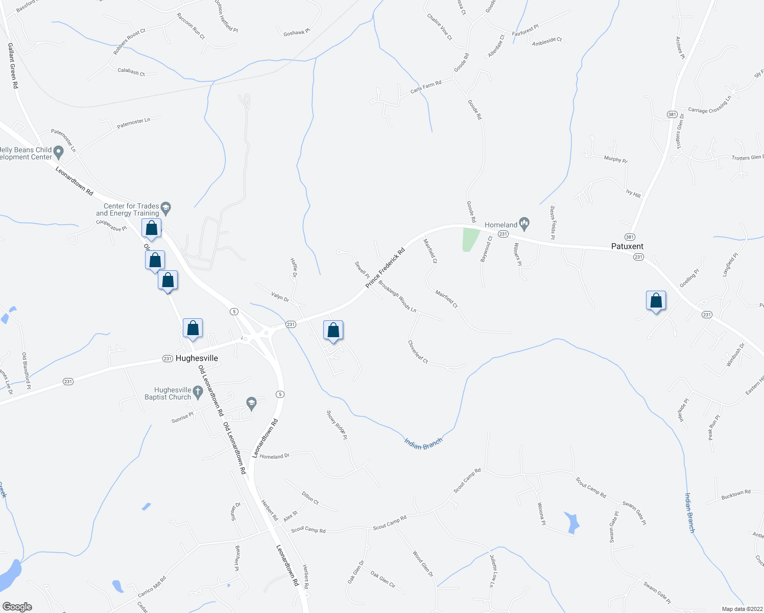 map of restaurants, bars, coffee shops, grocery stores, and more near in Hughesville