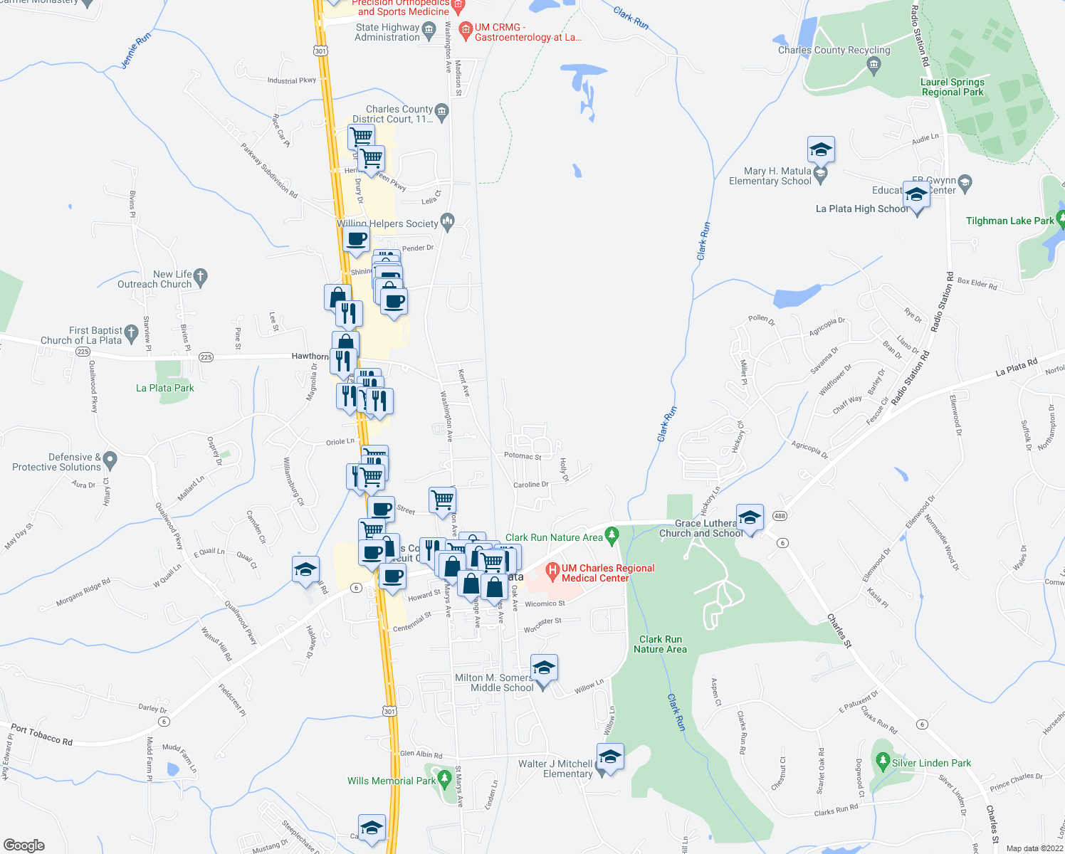map of restaurants, bars, coffee shops, grocery stores, and more near 644-698 Piscataway Court in La Plata