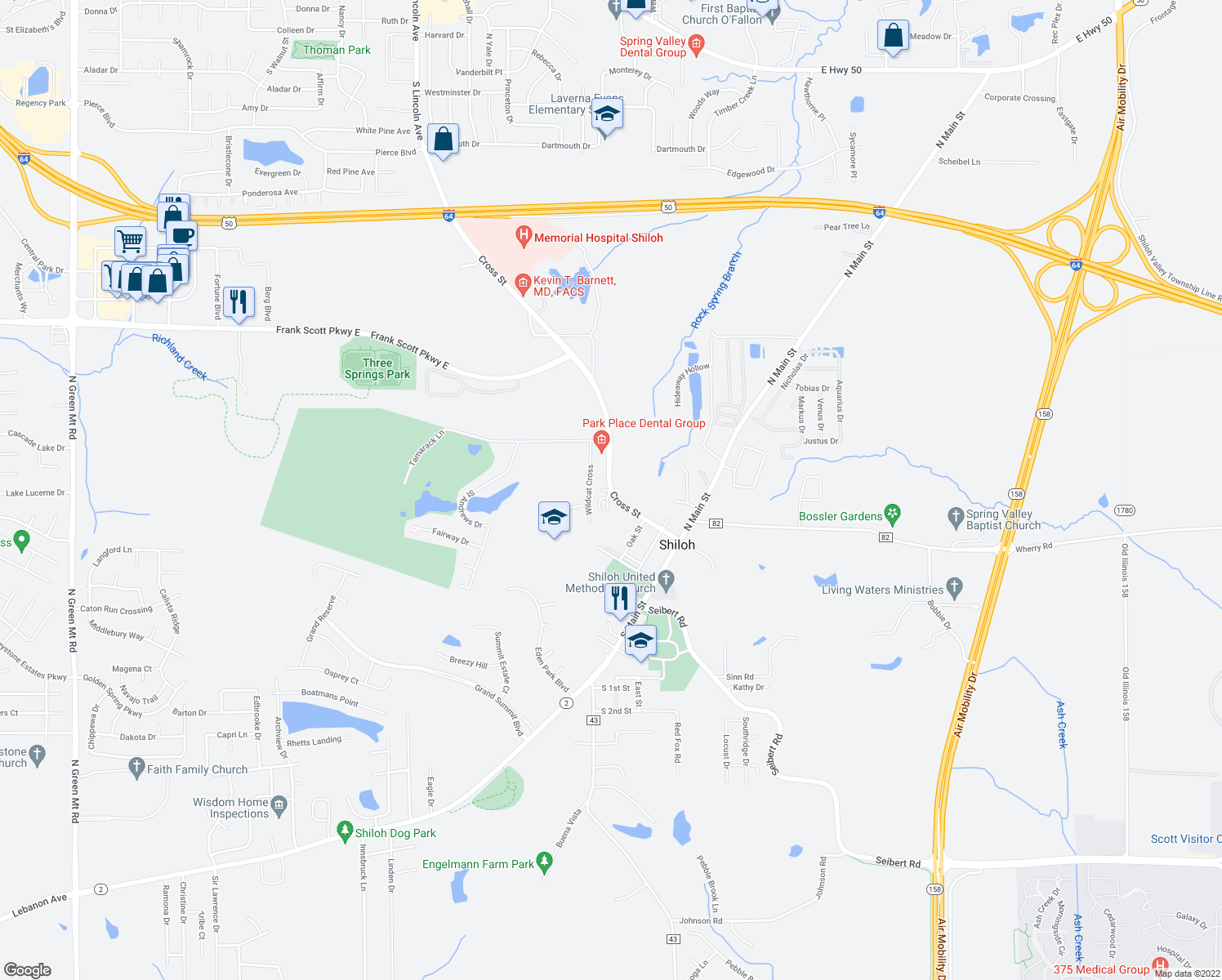 map of restaurants, bars, coffee shops, grocery stores, and more near Cross Street & Beck Lane in Shiloh