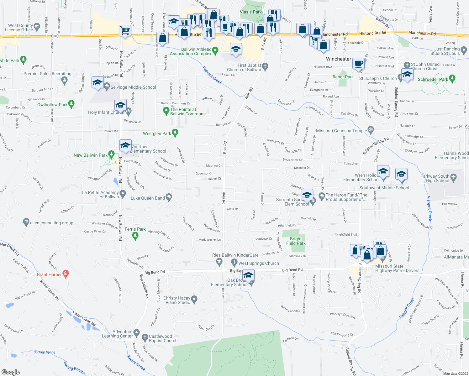 map of restaurants, bars, coffee shops, grocery stores, and more near 151-253 Holly Green Drive in Ballwin