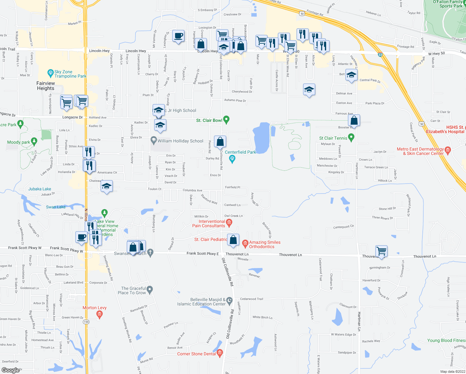 map of restaurants, bars, coffee shops, grocery stores, and more near 2014-2016 Fairfield Place in O'Fallon