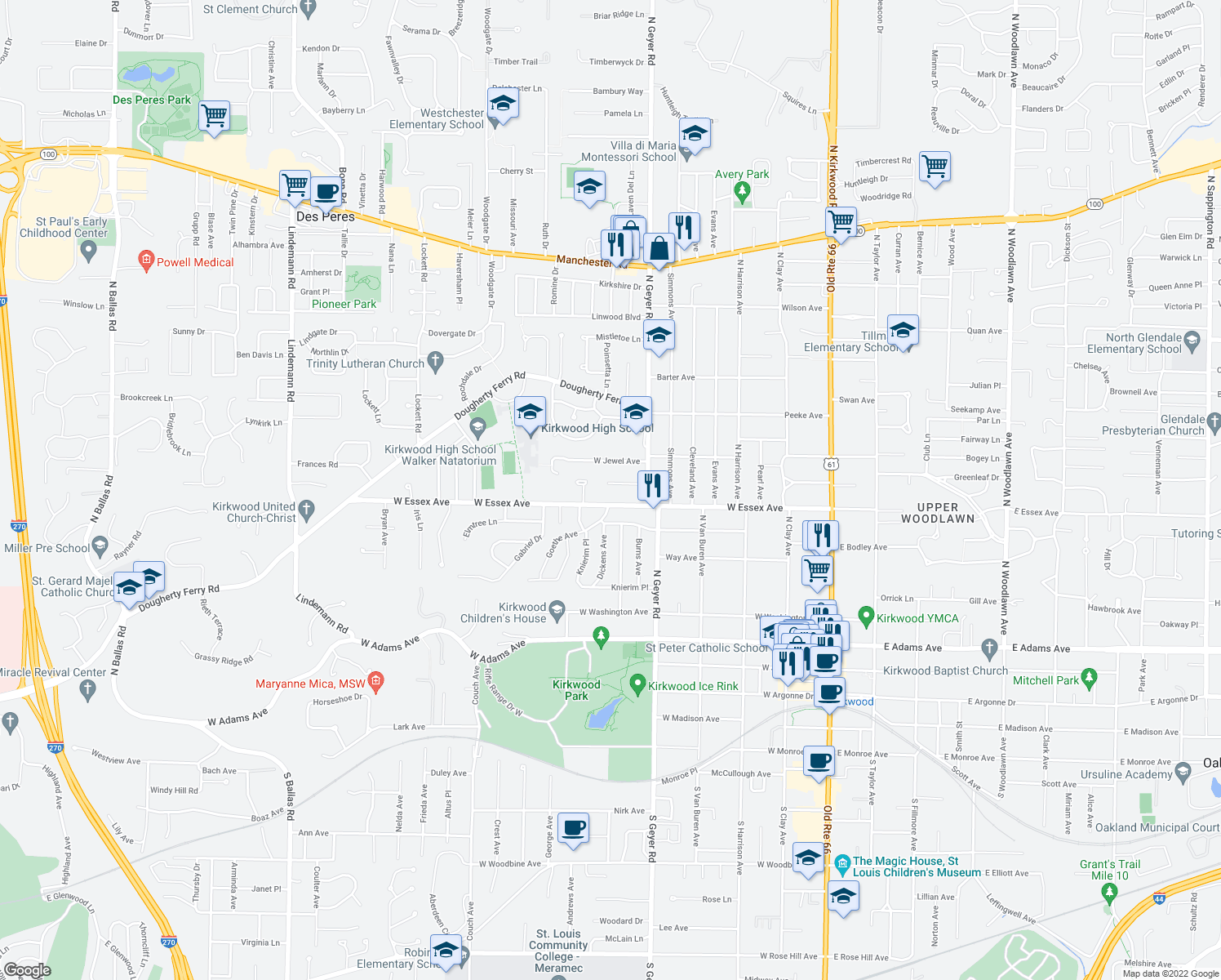 map of restaurants, bars, coffee shops, grocery stores, and more near 608 Villa Gardens Drive in Kirkwood