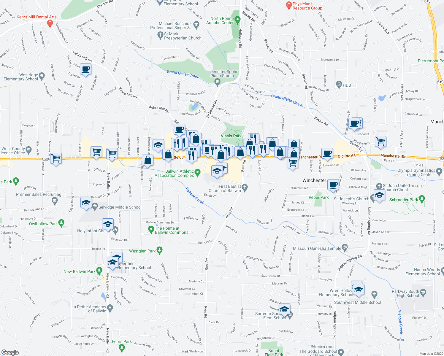 map of restaurants, bars, coffee shops, grocery stores, and more near 396 Jefferson Avenue in Ballwin