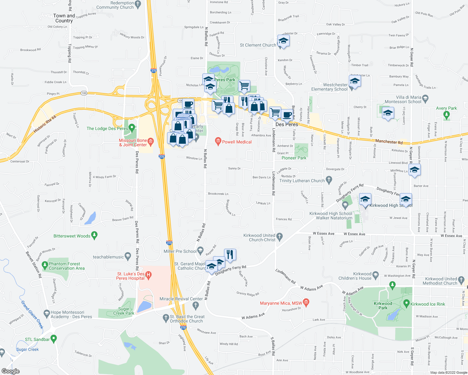 map of restaurants, bars, coffee shops, grocery stores, and more near 814 Stable Ridge Ln in St Louis