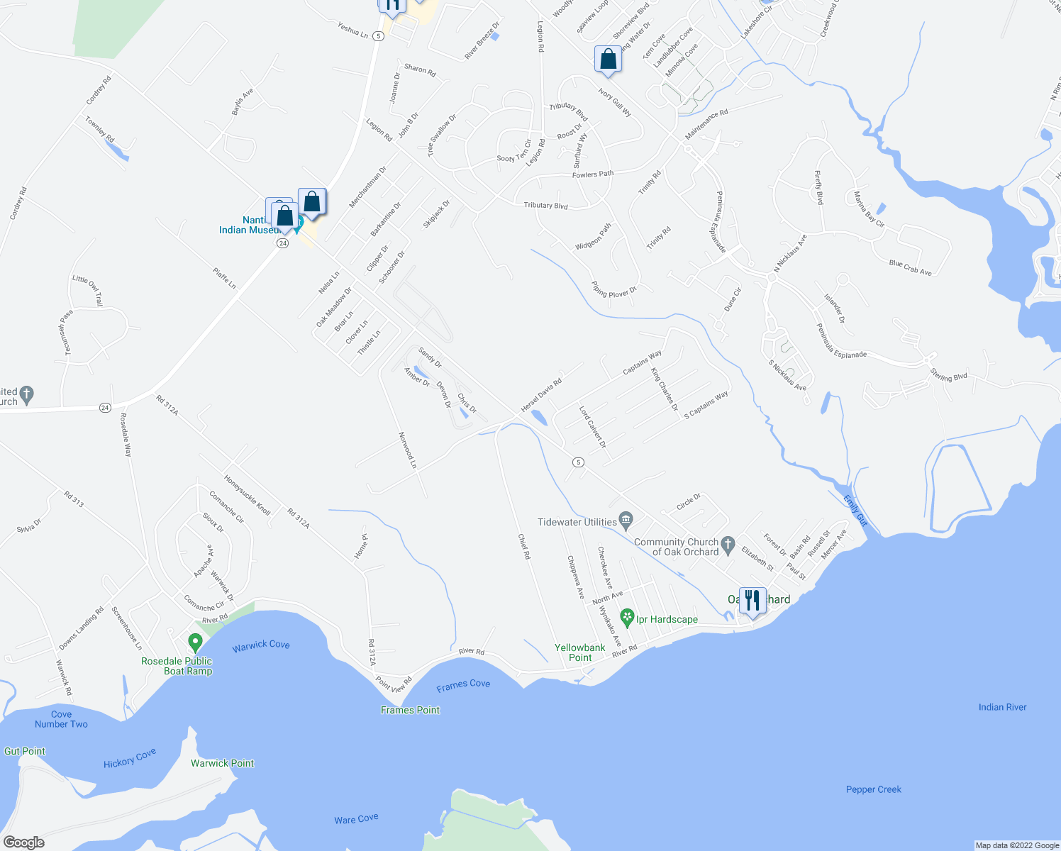 map of restaurants, bars, coffee shops, grocery stores, and more near Captains Way in Millsboro