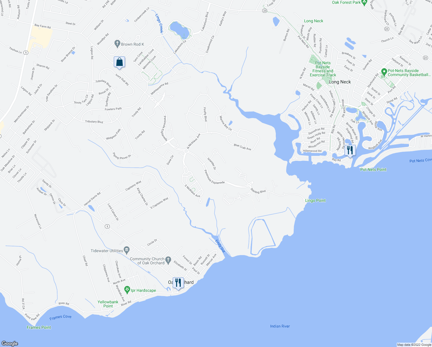 map of restaurants, bars, coffee shops, grocery stores, and more near Islander Drive in Millsboro
