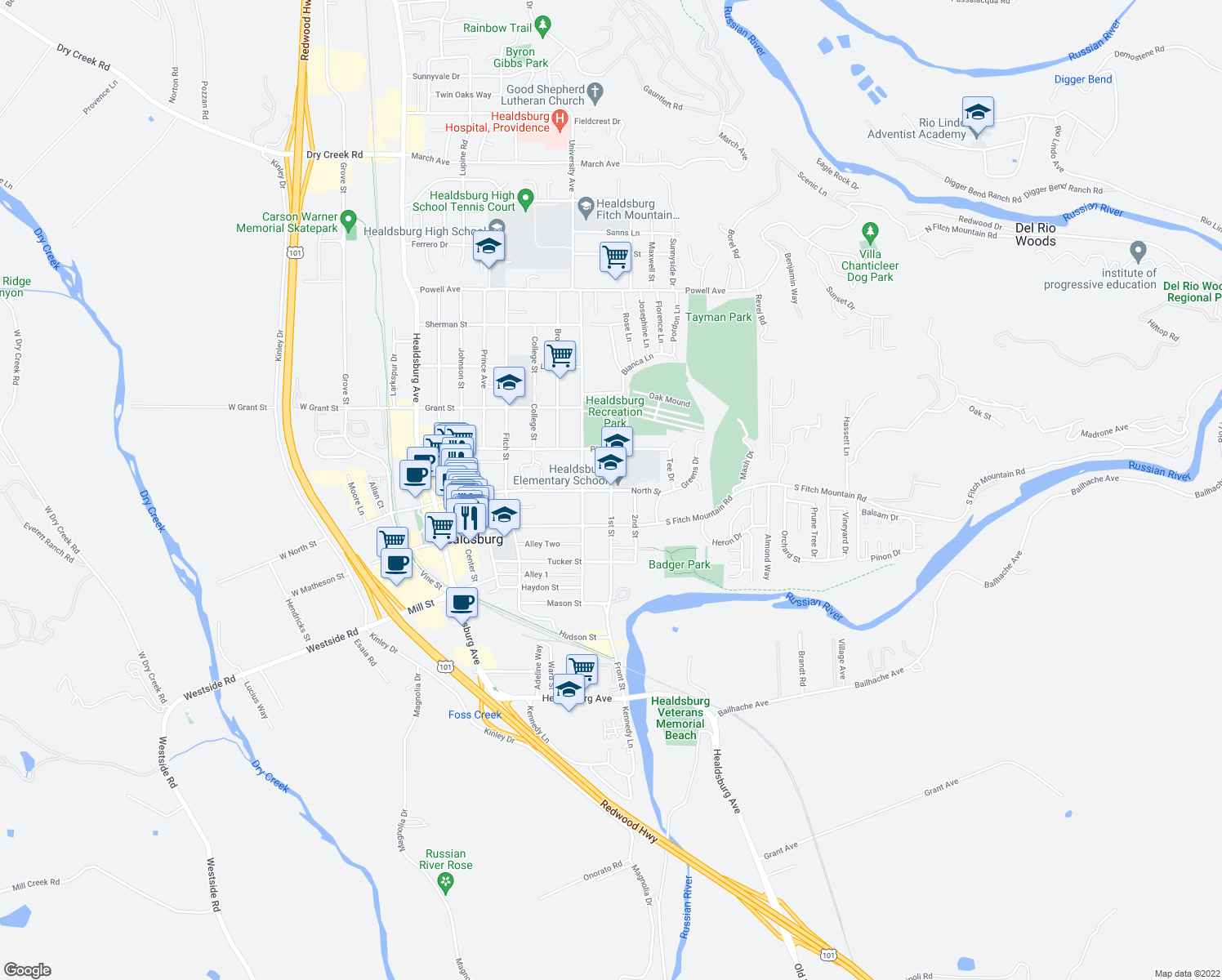 map of restaurants, bars, coffee shops, grocery stores, and more near 411 1st Street in Healdsburg