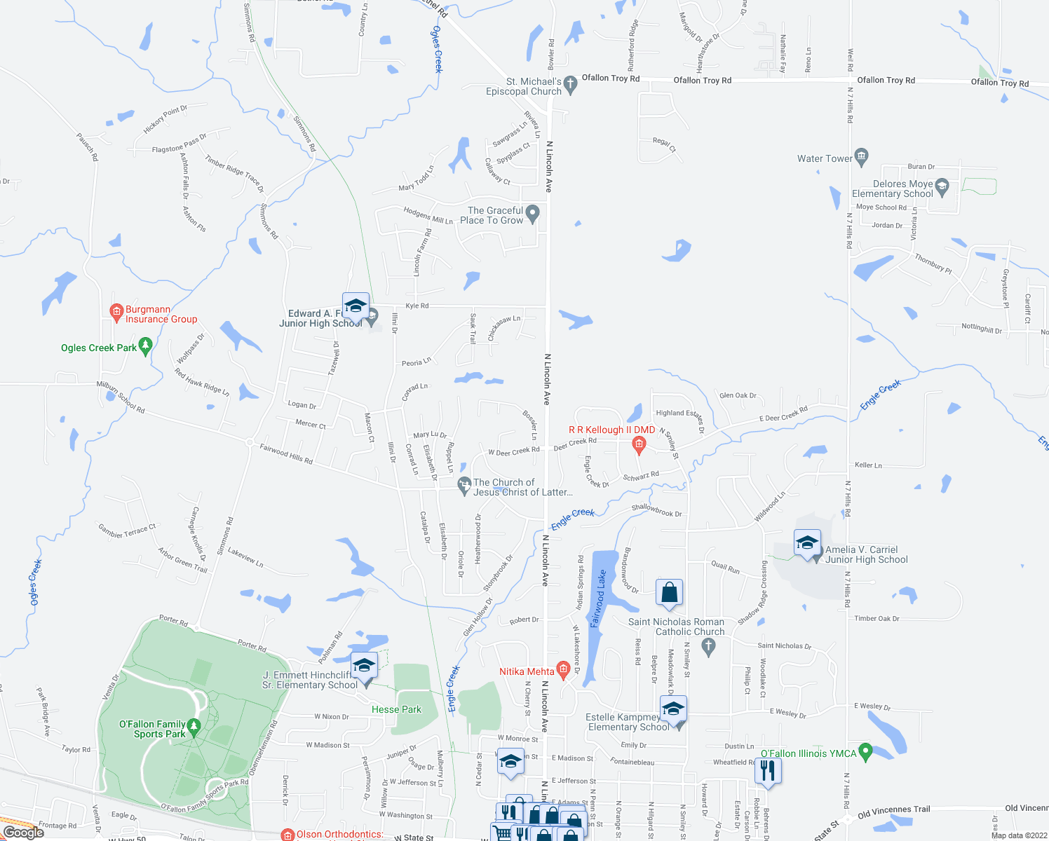 map of restaurants, bars, coffee shops, grocery stores, and more near 1315 Bossler Lane in O'Fallon