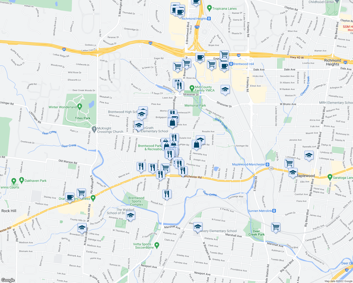 map of restaurants, bars, coffee shops, grocery stores, and more near 2400 South Brentwood Boulevard in Brentwood
