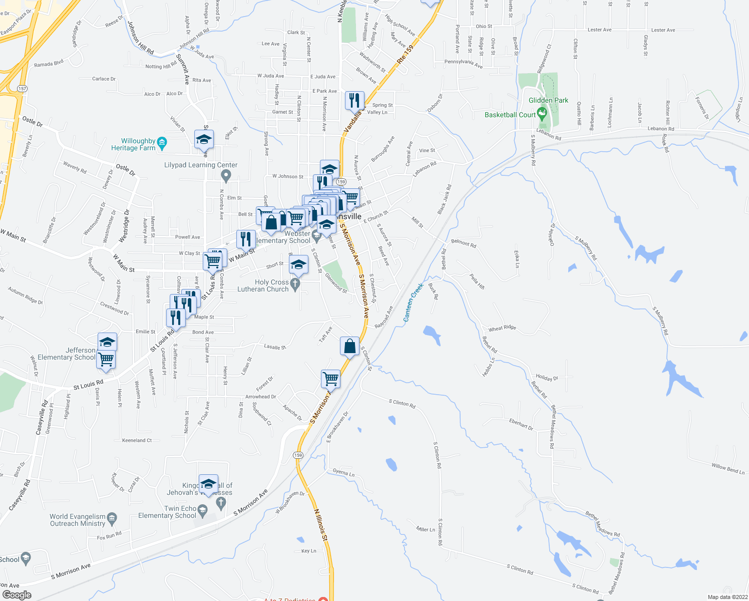 map of restaurants, bars, coffee shops, grocery stores, and more near 624-698 South Morrison Avenue in Collinsville