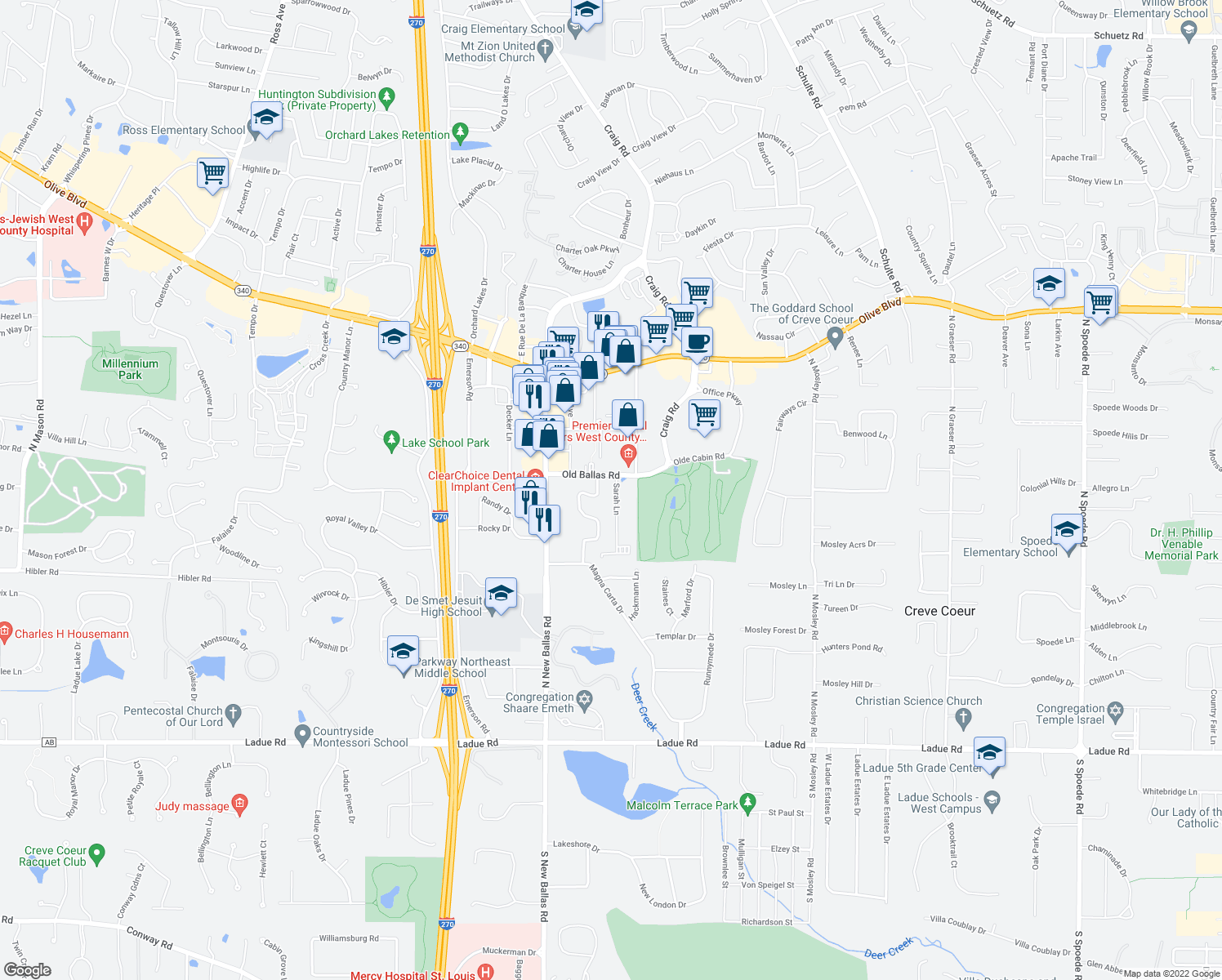 map of restaurants, bars, coffee shops, grocery stores, and more near 11614 Old Ballas Road in Saint Louis