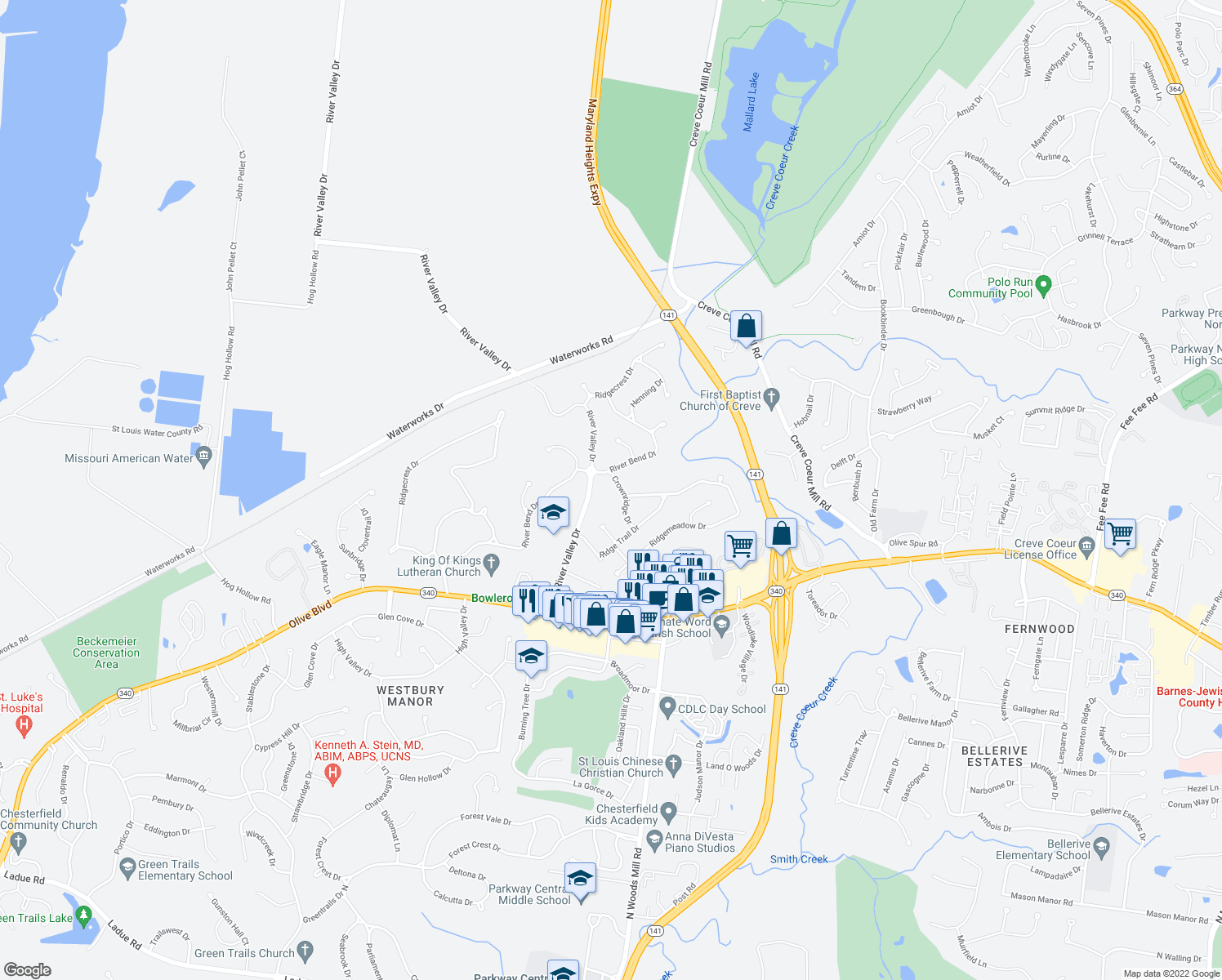 map of restaurants, bars, coffee shops, grocery stores, and more near 263 River Valley Drive in Chesterfield