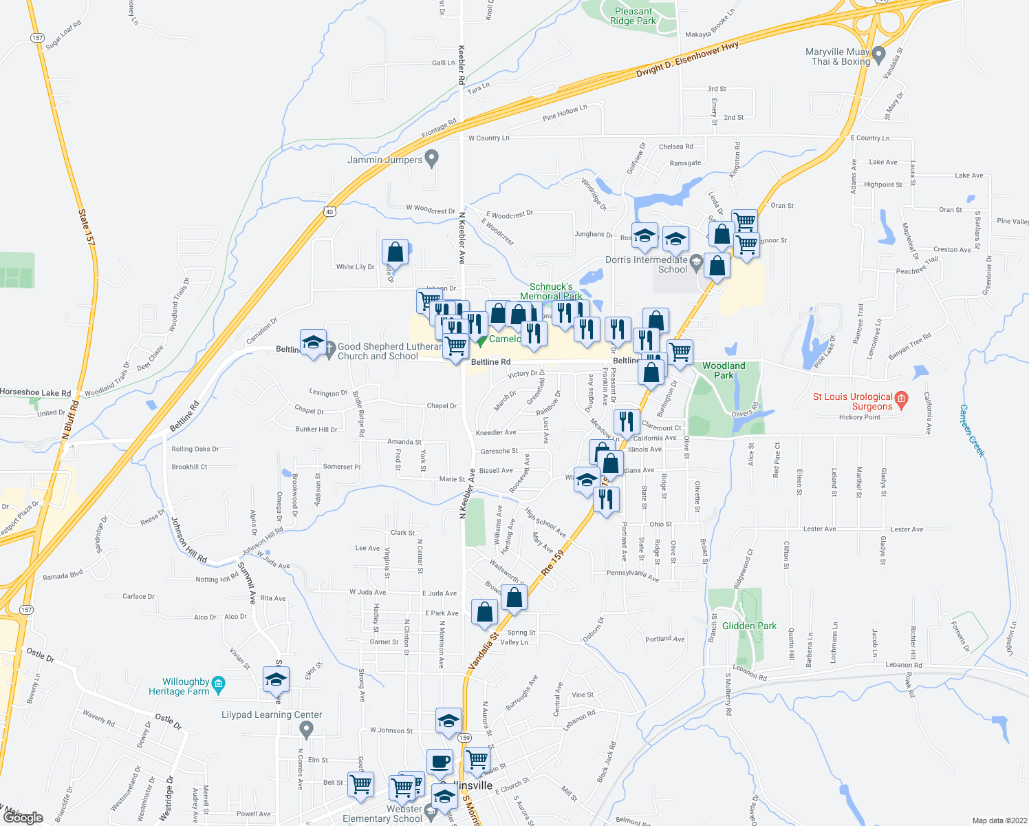 map of restaurants, bars, coffee shops, grocery stores, and more near 201 Greenfield Drive in Collinsville