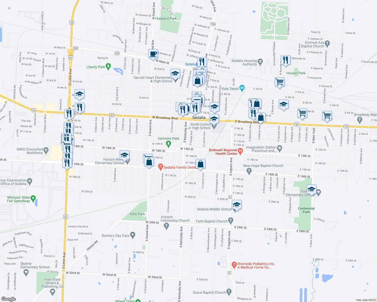 map of restaurants, bars, coffee shops, grocery stores, and more near 1303 South Osage Avenue in Sedalia