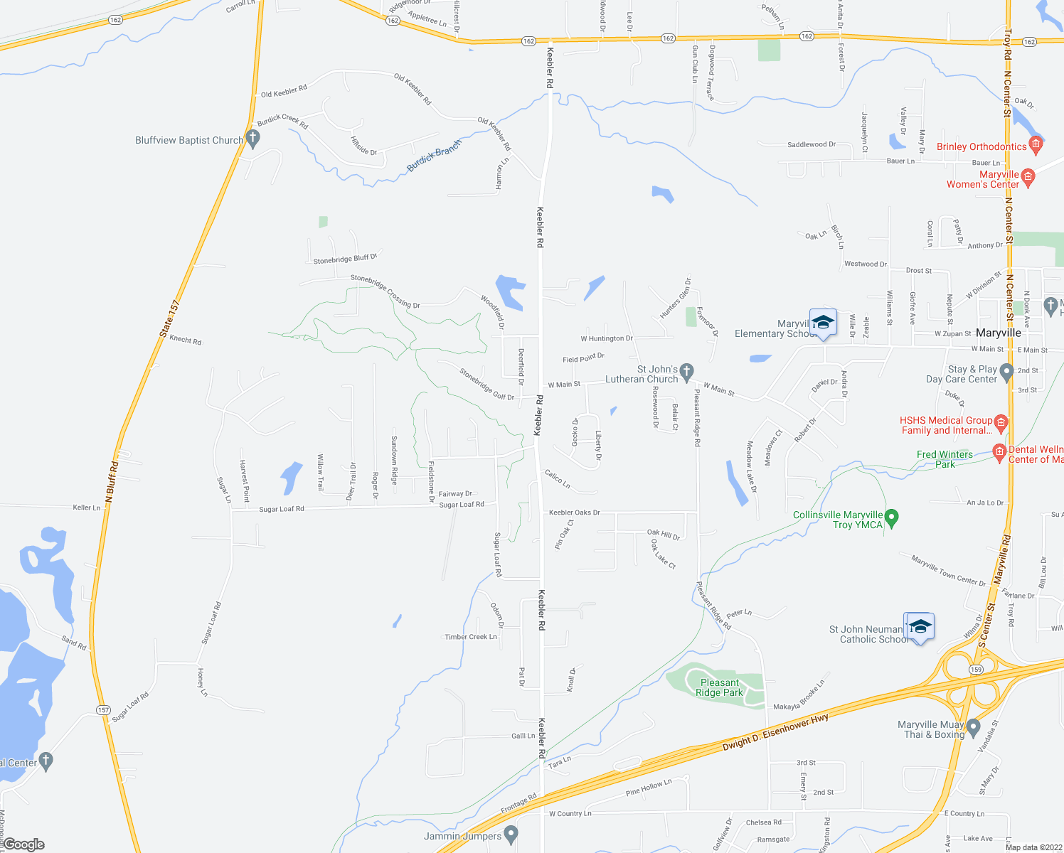 map of restaurants, bars, coffee shops, grocery stores, and more near 2655 Keebler Road in Maryville