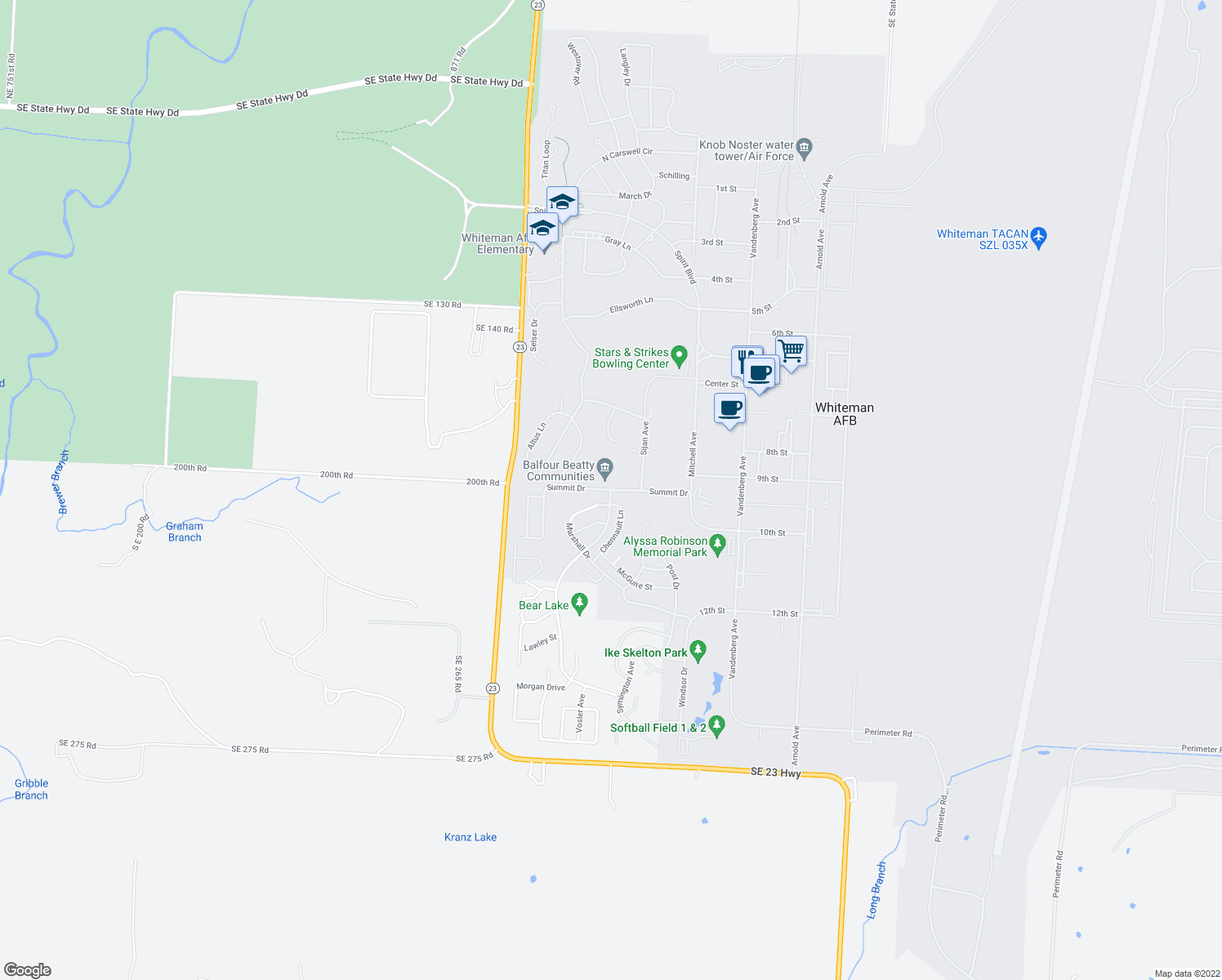 map of restaurants, bars, coffee shops, grocery stores, and more near Summit Drive in Whiteman Air Force Base