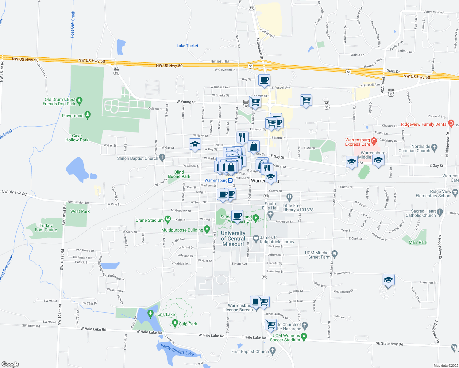 map of restaurants, bars, coffee shops, grocery stores, and more near 102 South Holden Street in Warrensburg