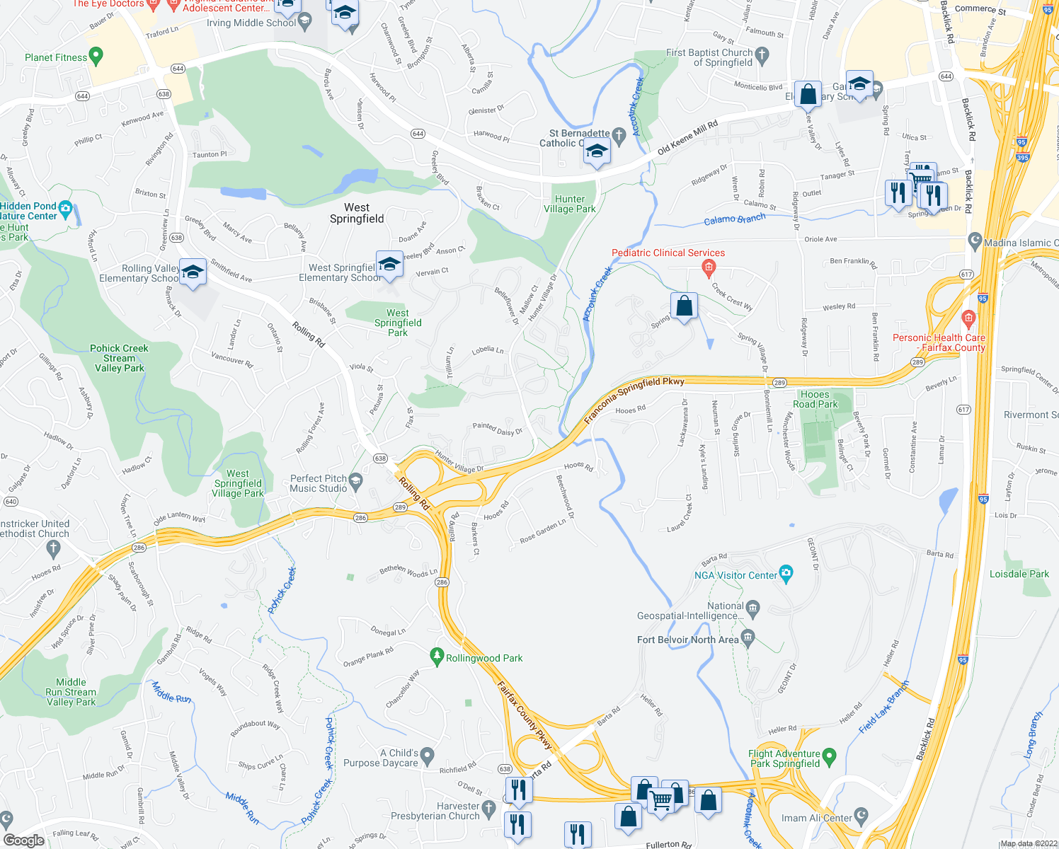 map of restaurants, bars, coffee shops, grocery stores, and more near Hunter Village Dr & Rockledge Ct in West Springfield