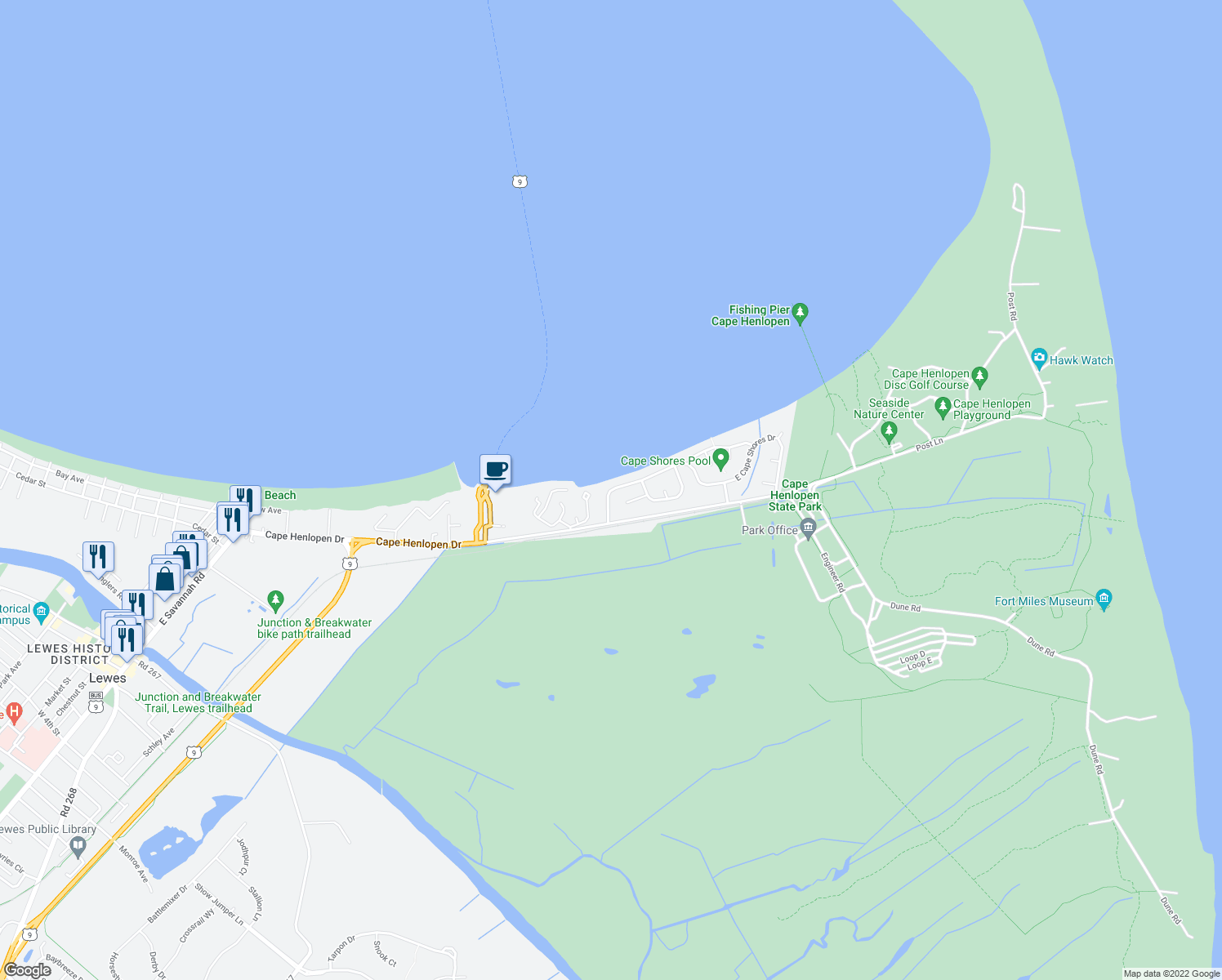 map of restaurants, bars, coffee shops, grocery stores, and more near West Cape Shores Drive in Lewes