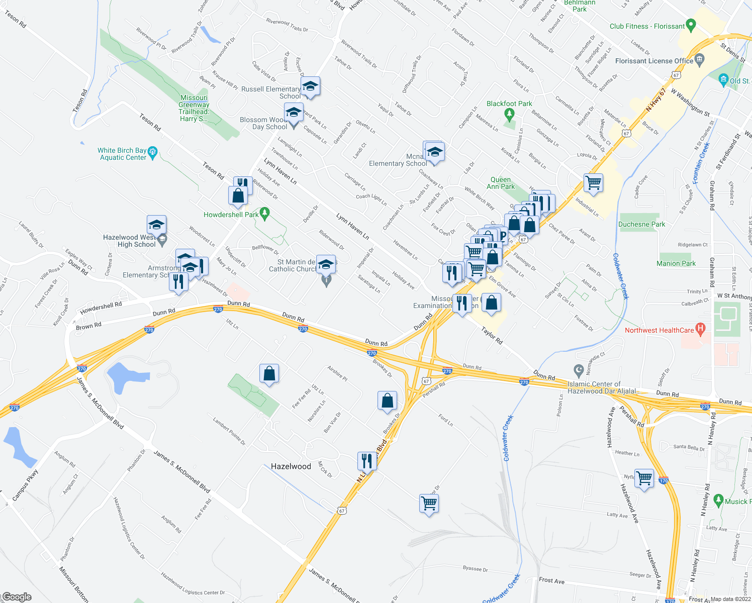 map of restaurants, bars, coffee shops, grocery stores, and more near 33433 Impala Lane in Hazelwood