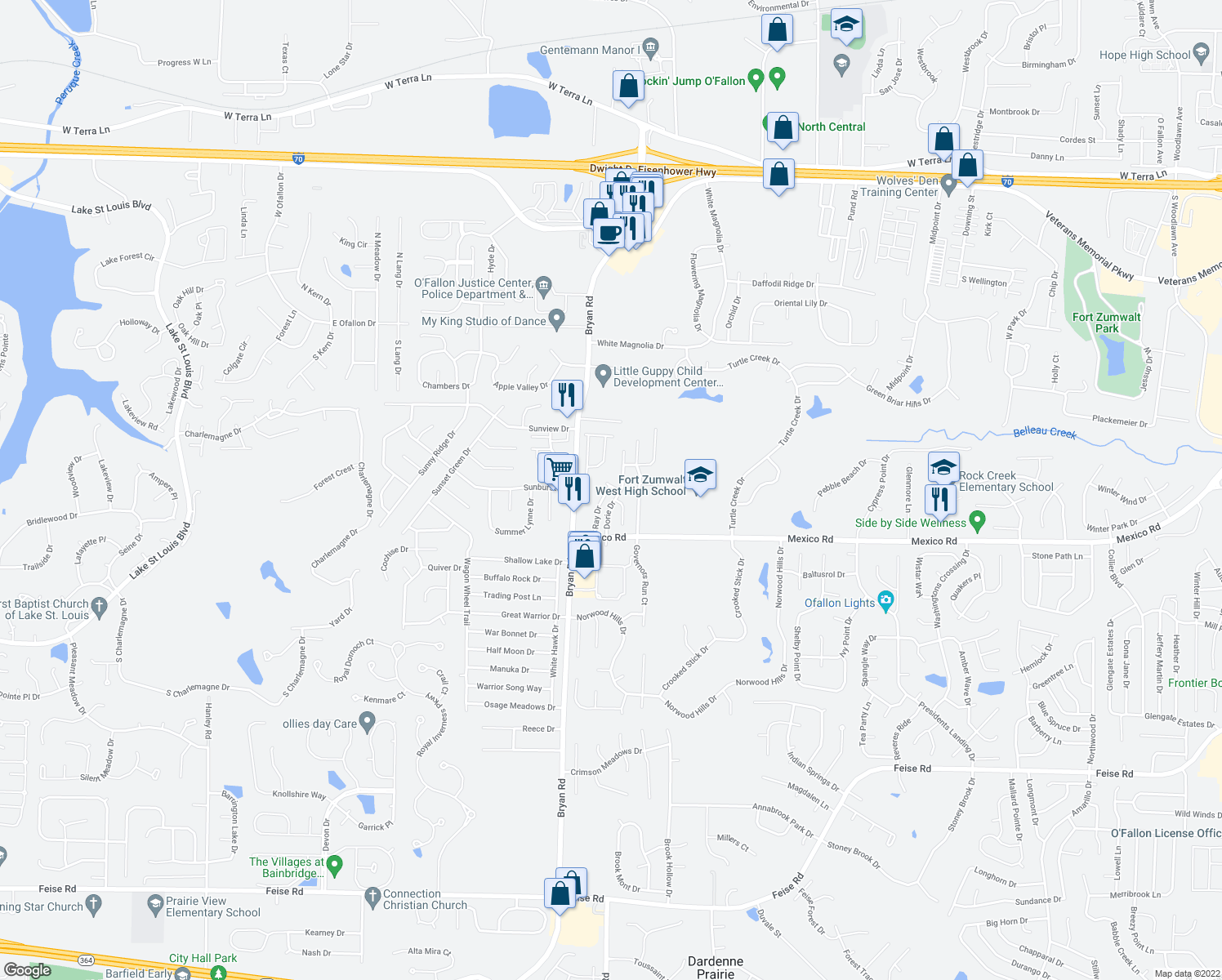 map of restaurants, bars, coffee shops, grocery stores, and more near 1-99 Ray Drive in O'Fallon