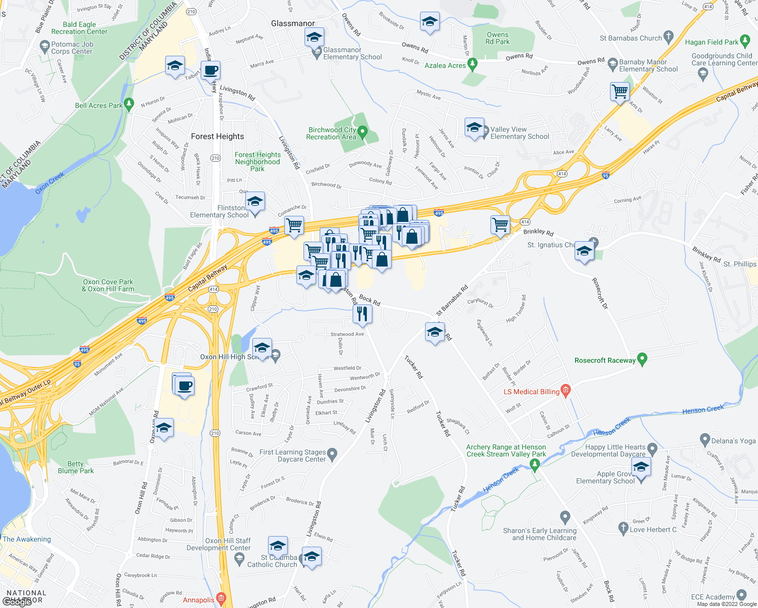 map of restaurants, bars, coffee shops, grocery stores, and more near 6508 Bock Terrace in Oxon Hill