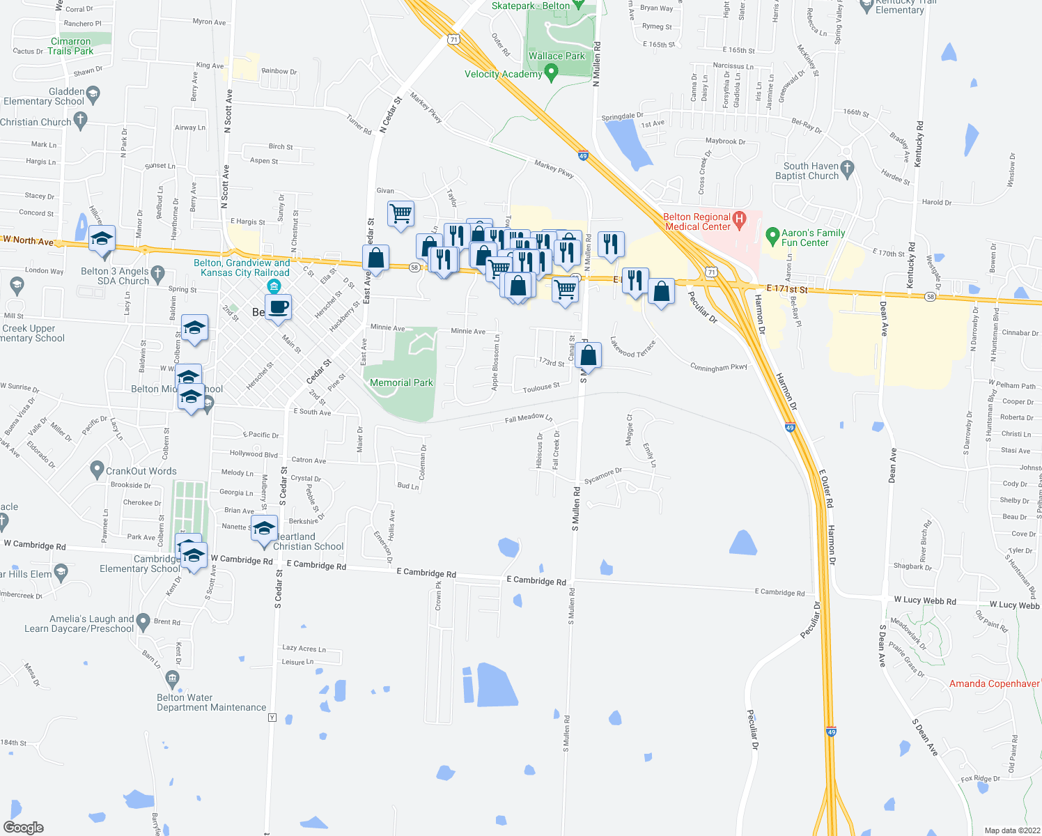 map of restaurants, bars, coffee shops, grocery stores, and more near 1103 Fall Meadow Lane in Belton