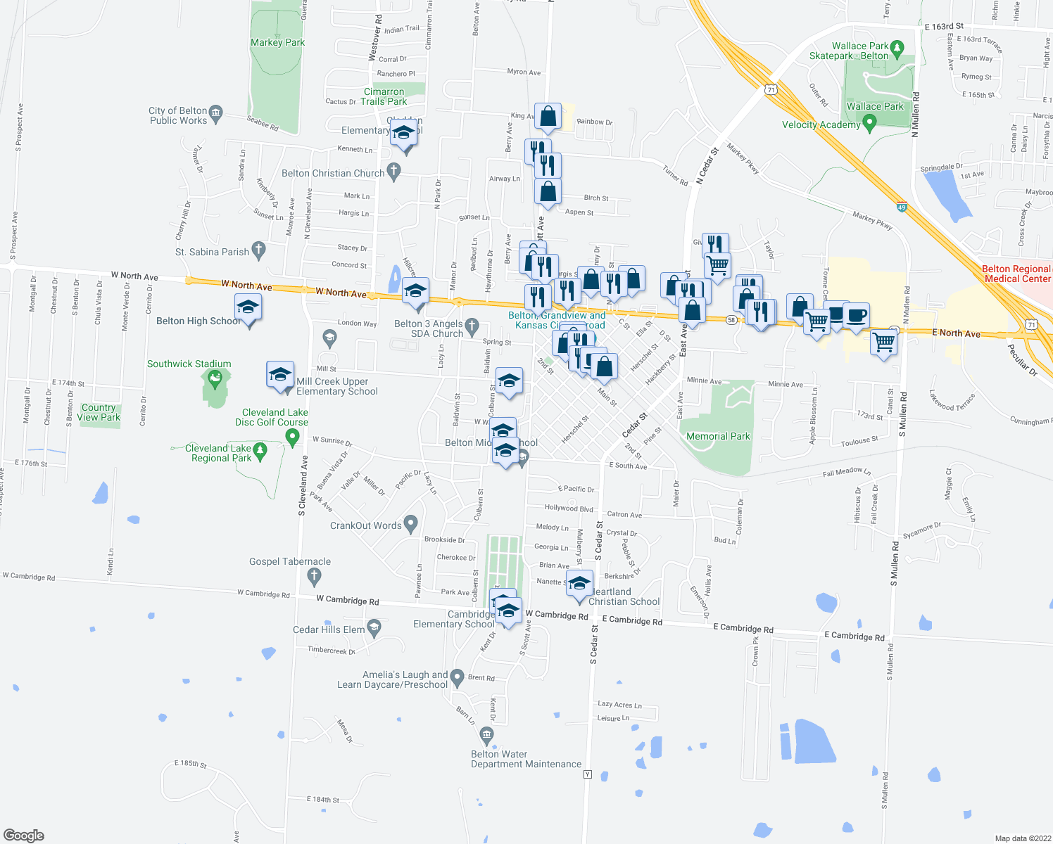 map of restaurants, bars, coffee shops, grocery stores, and more near 134-186 West Walnut Street in Belton