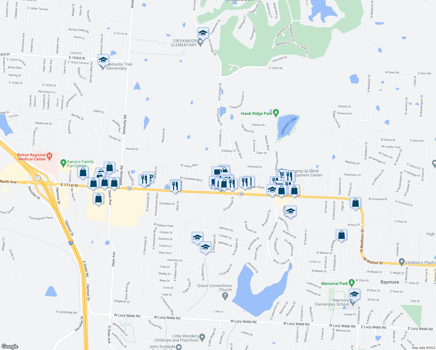 map of restaurants, bars, coffee shops, grocery stores, and more near 507 Andypaul Court in Belton