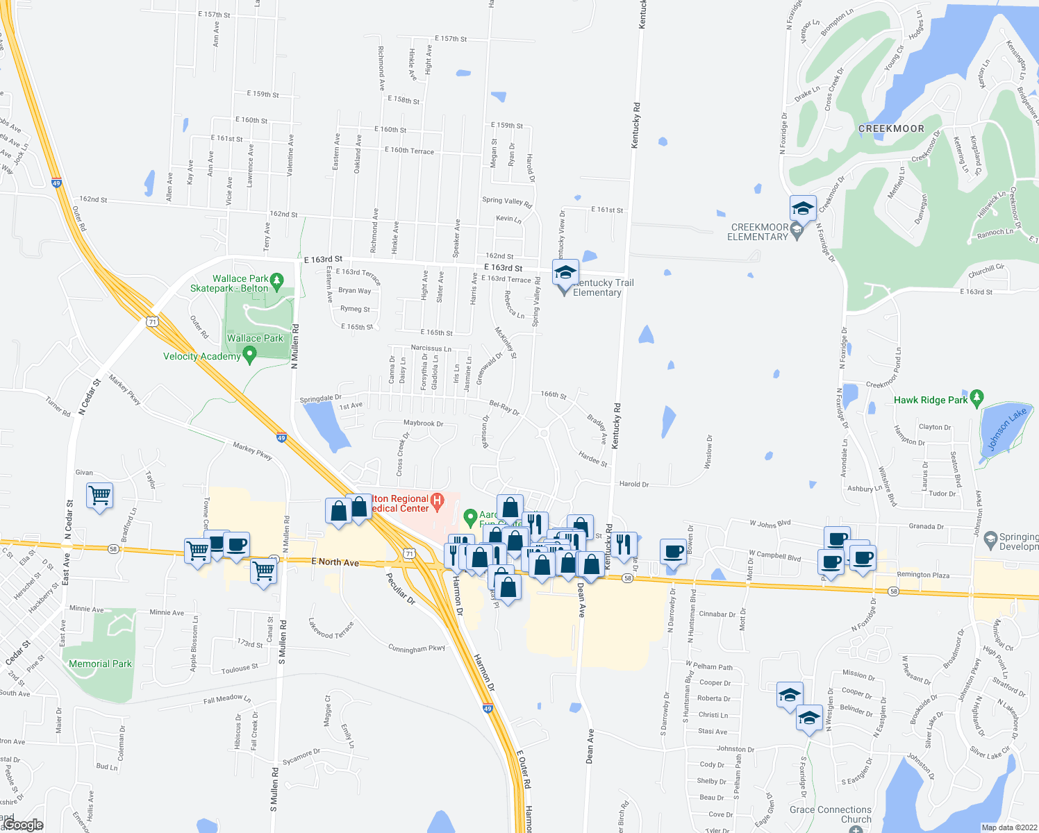 map of restaurants, bars, coffee shops, grocery stores, and more near 16706 Spring Valley Road in Belton