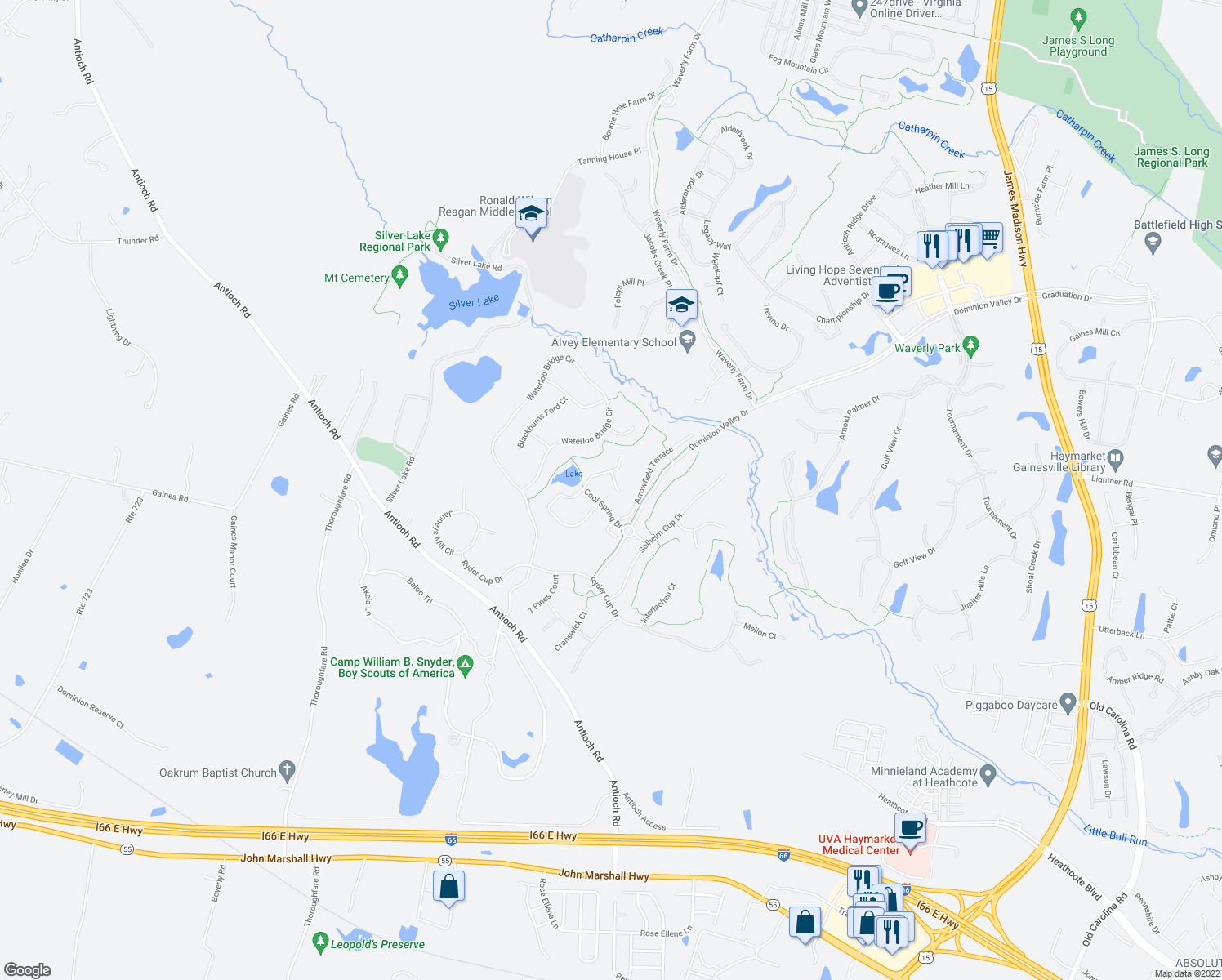 map of restaurants, bars, coffee shops, grocery stores, and more near 5610 Swift Creek Court in Haymarket