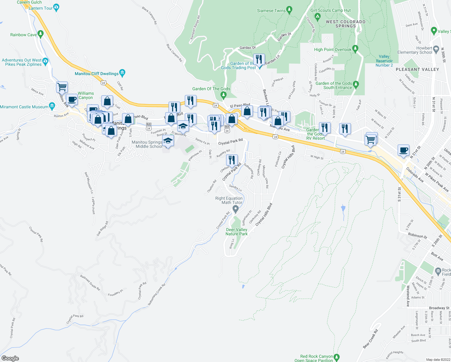 map of restaurants, bars, coffee shops, grocery stores, and more near 205 Crystal Park Road in Manitou Springs