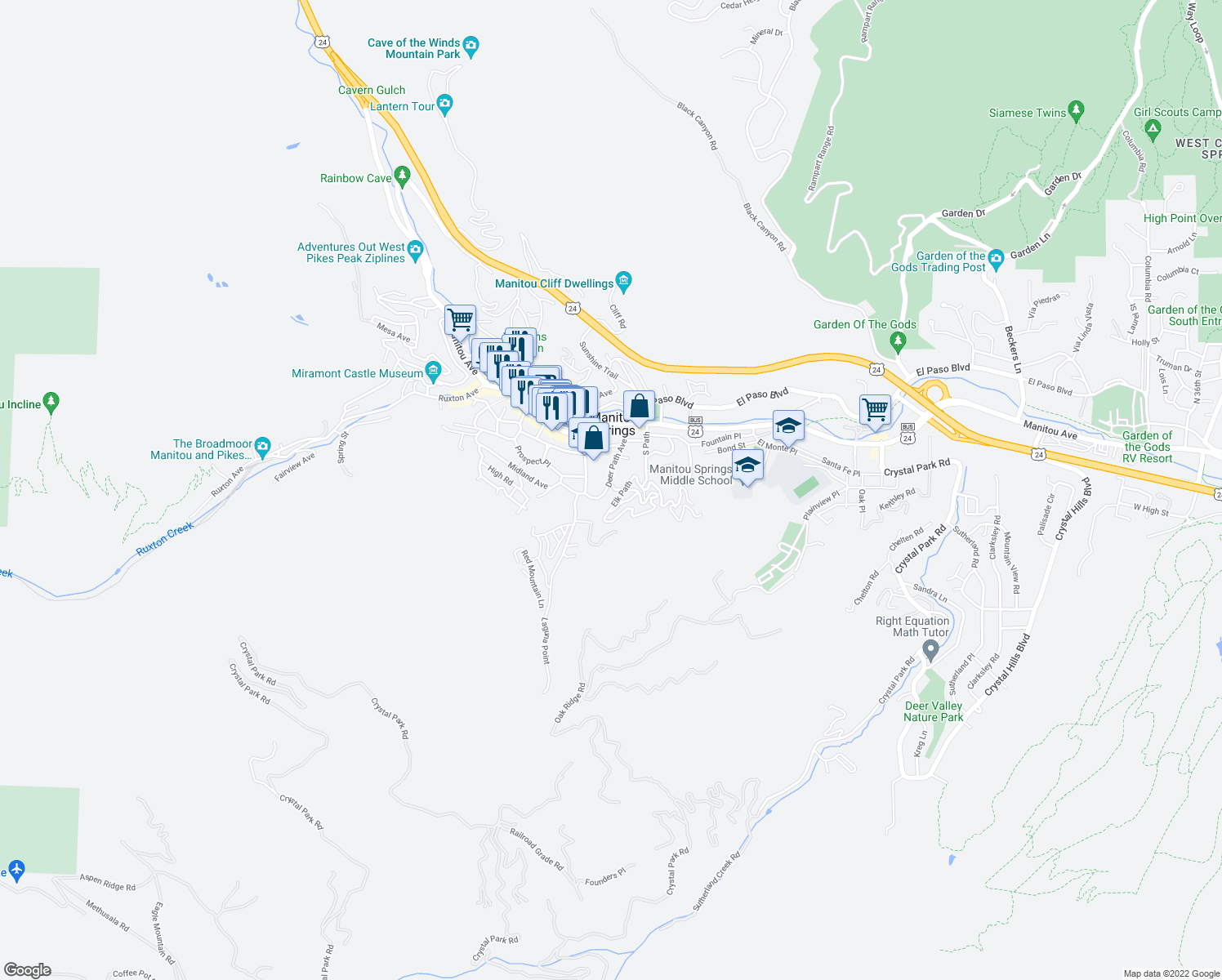 map of restaurants, bars, coffee shops, grocery stores, and more near 131 Deer Path Avenue in Manitou Springs