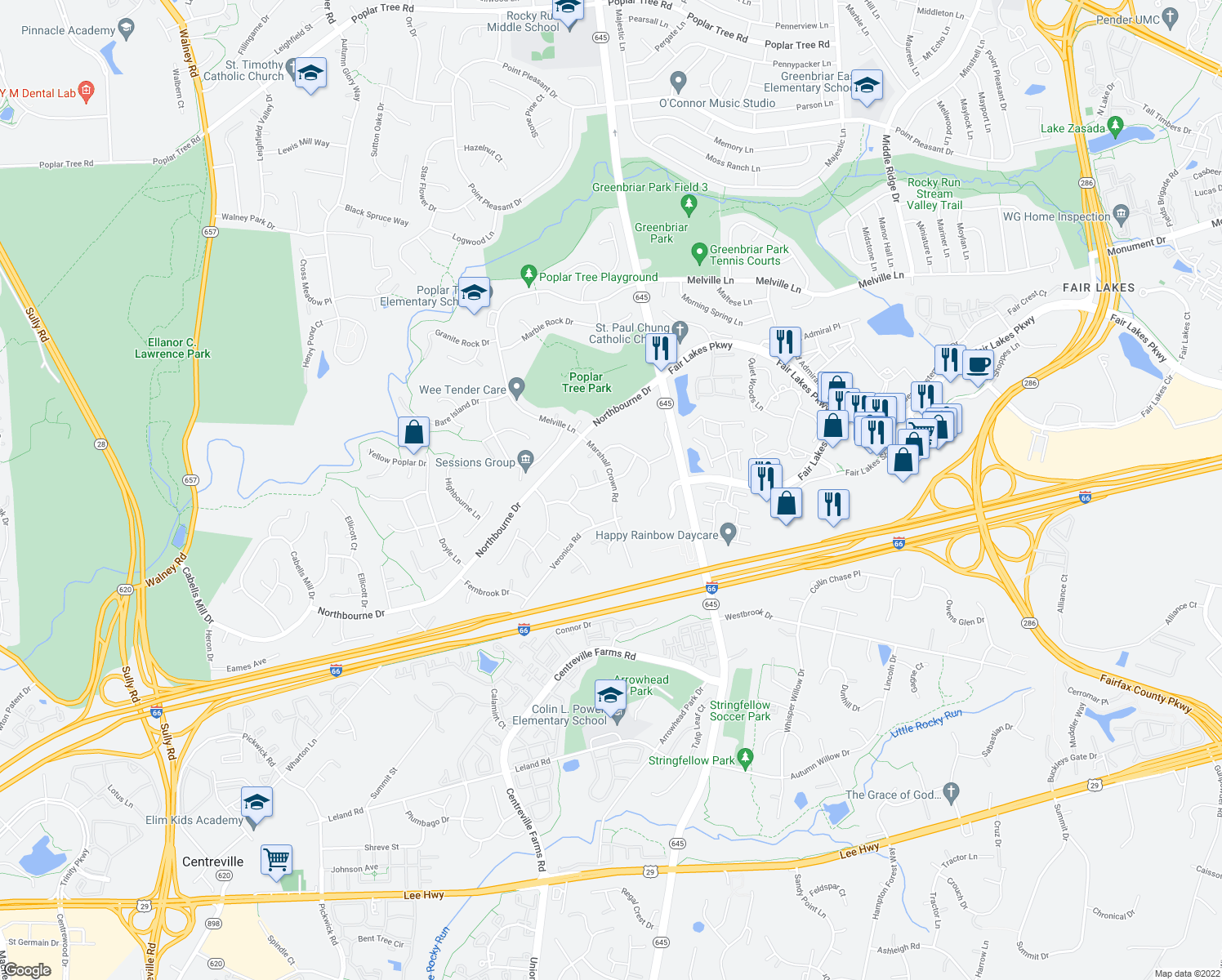 map of restaurants, bars, coffee shops, grocery stores, and more near 4982 Marshall Crown Road in Centreville