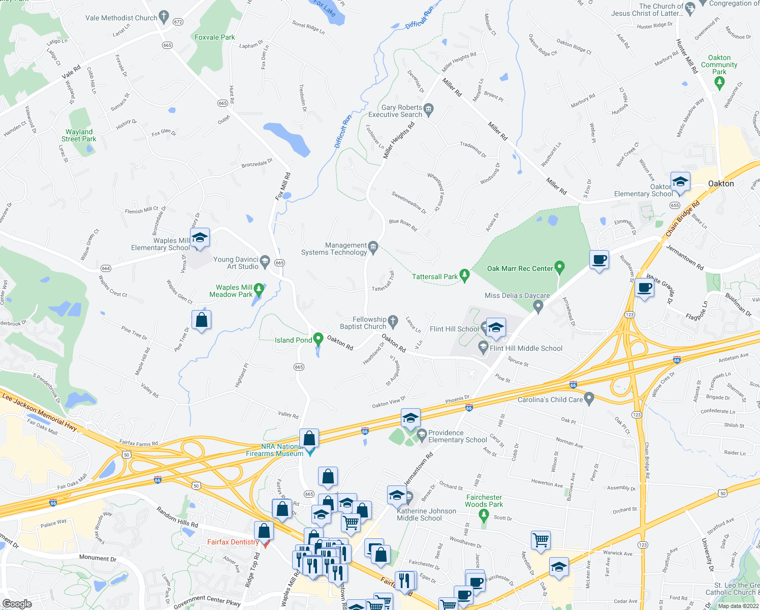 map of restaurants, bars, coffee shops, grocery stores, and more near 3411 Miller Heights Road in Oakton