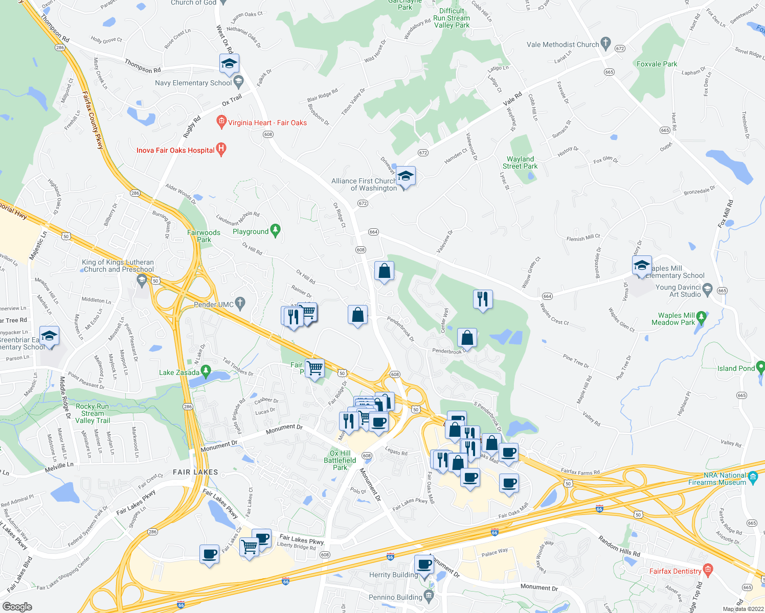 map of restaurants, bars, coffee shops, grocery stores, and more near Greenwood Court in Fairfax