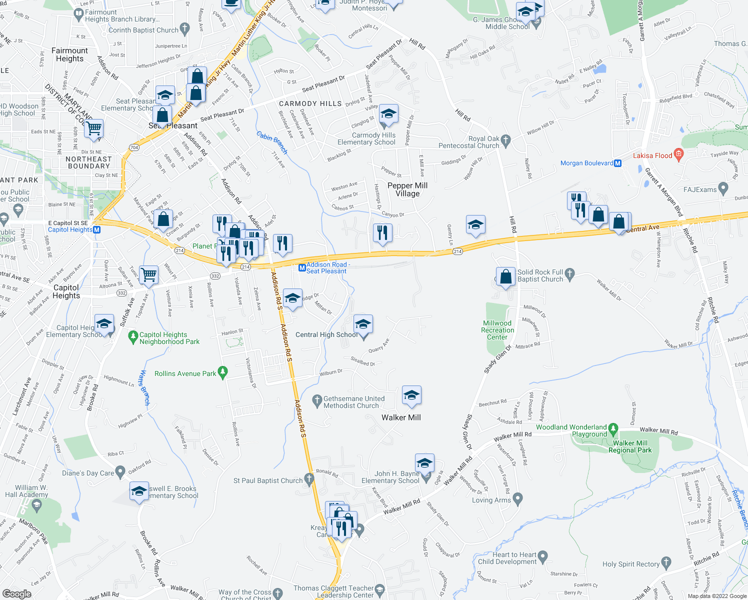 map of restaurants, bars, coffee shops, grocery stores, and more near in Capitol Heights
