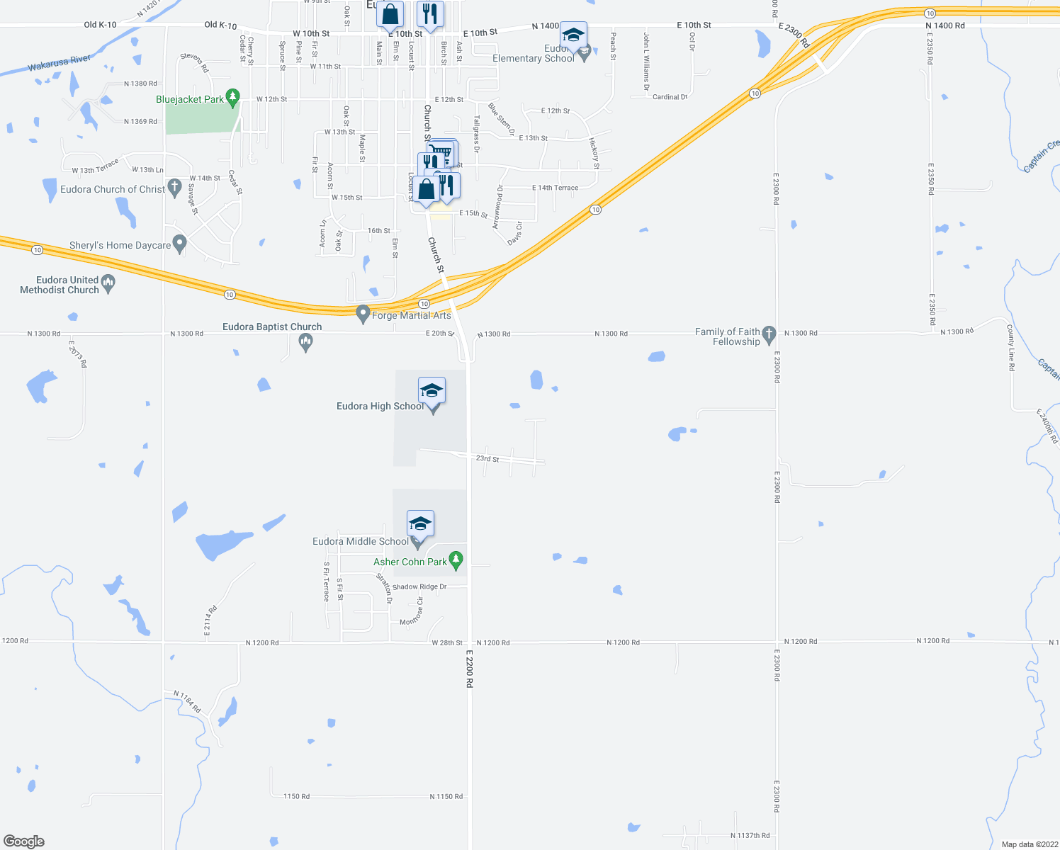 map of restaurants, bars, coffee shops, grocery stores, and more near 2201 Country Drive in Eudora