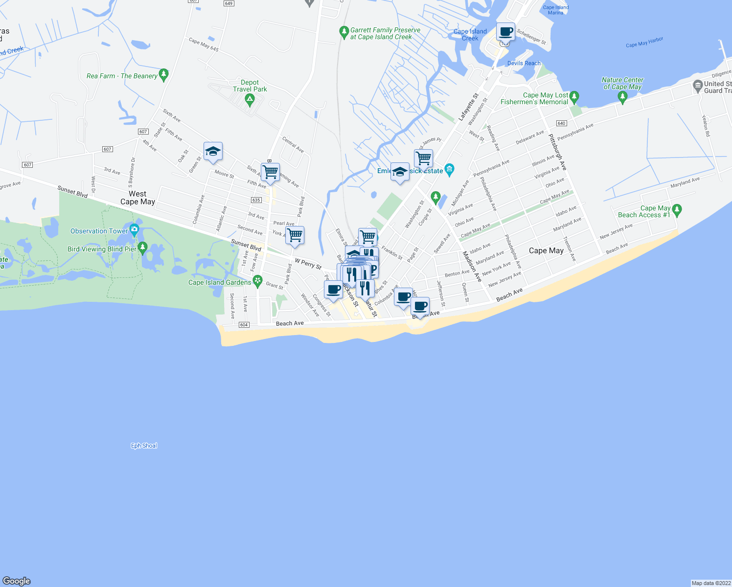 map of restaurants, bars, coffee shops, grocery stores, and more near 501 Hughes Street in Cape May