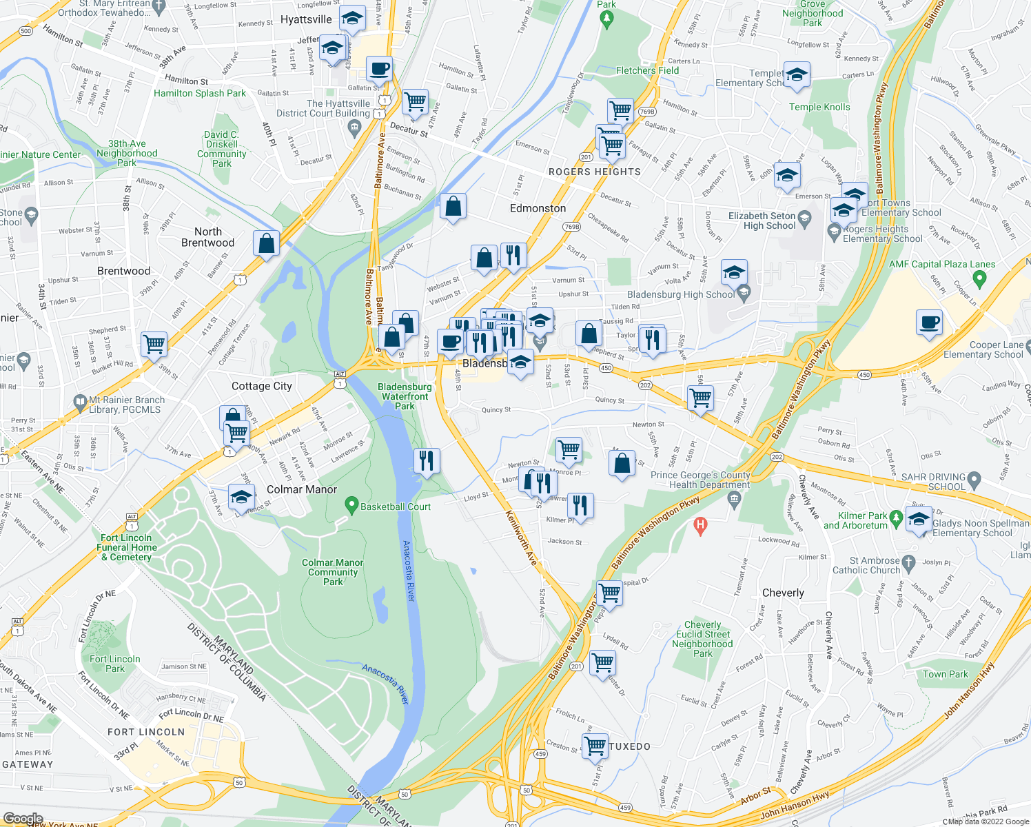map of restaurants, bars, coffee shops, grocery stores, and more near 5009 Quincy Street in Bladensburg